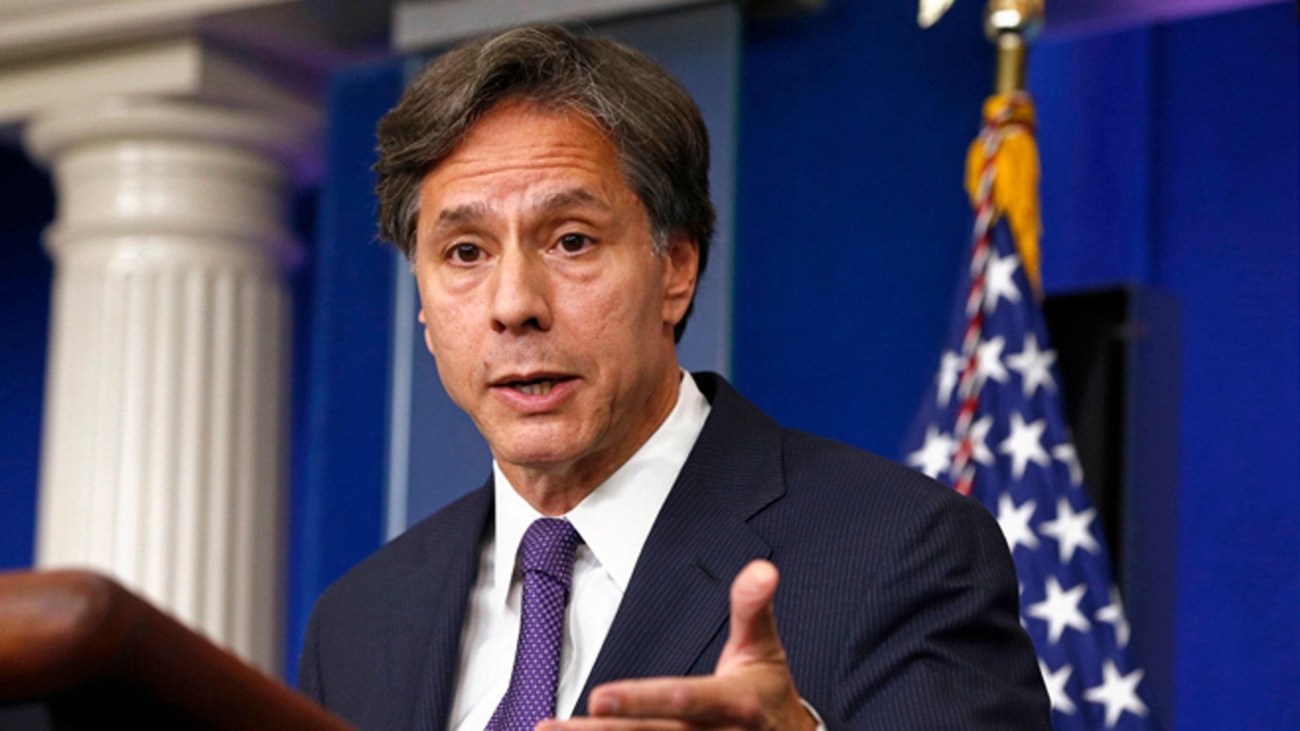 FILE: Sept. 9, 2013: U.S. Deputy National Security Adviser Tony Blinken speaks at the White House in Washington, D.C. .