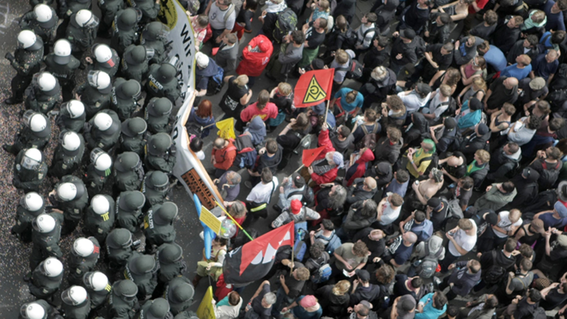 June 1, 2013: German police officers block anti capitalism Blockupy protesters with several thousand people taking part in Frankfurt. Crowds of anti-capitalist protesters blocked streets leading to the European Central Bank in Germany's financial capital to protest its role in pushing for austerity cutbacks as a way to fight the continent's debt crisis.