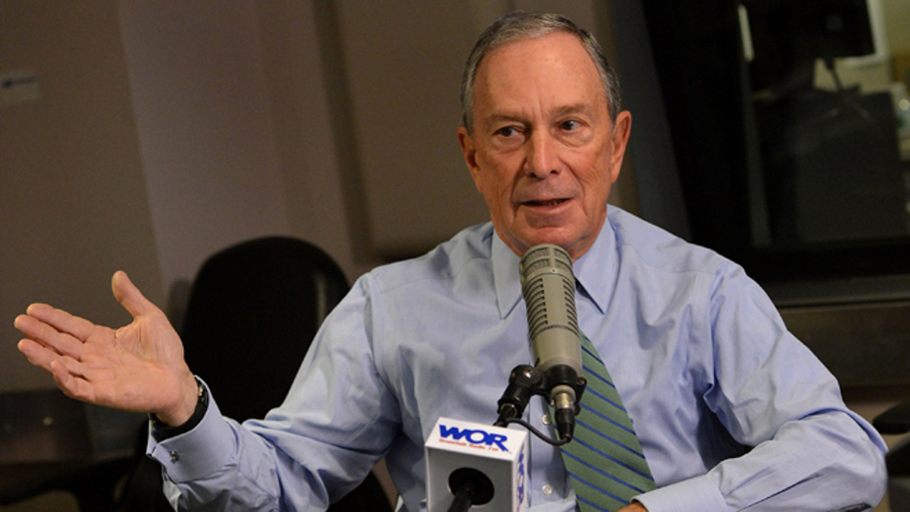 NEW YORK, NY - DECEMBER 20:  Mayor Michael Bloomberg visits John Gambling's final special on WOR 710 AM at WOR Studios on December 20, 2013 in New York City.  (Photo by Slaven Vlasic/Getty Images for Clear Channel)