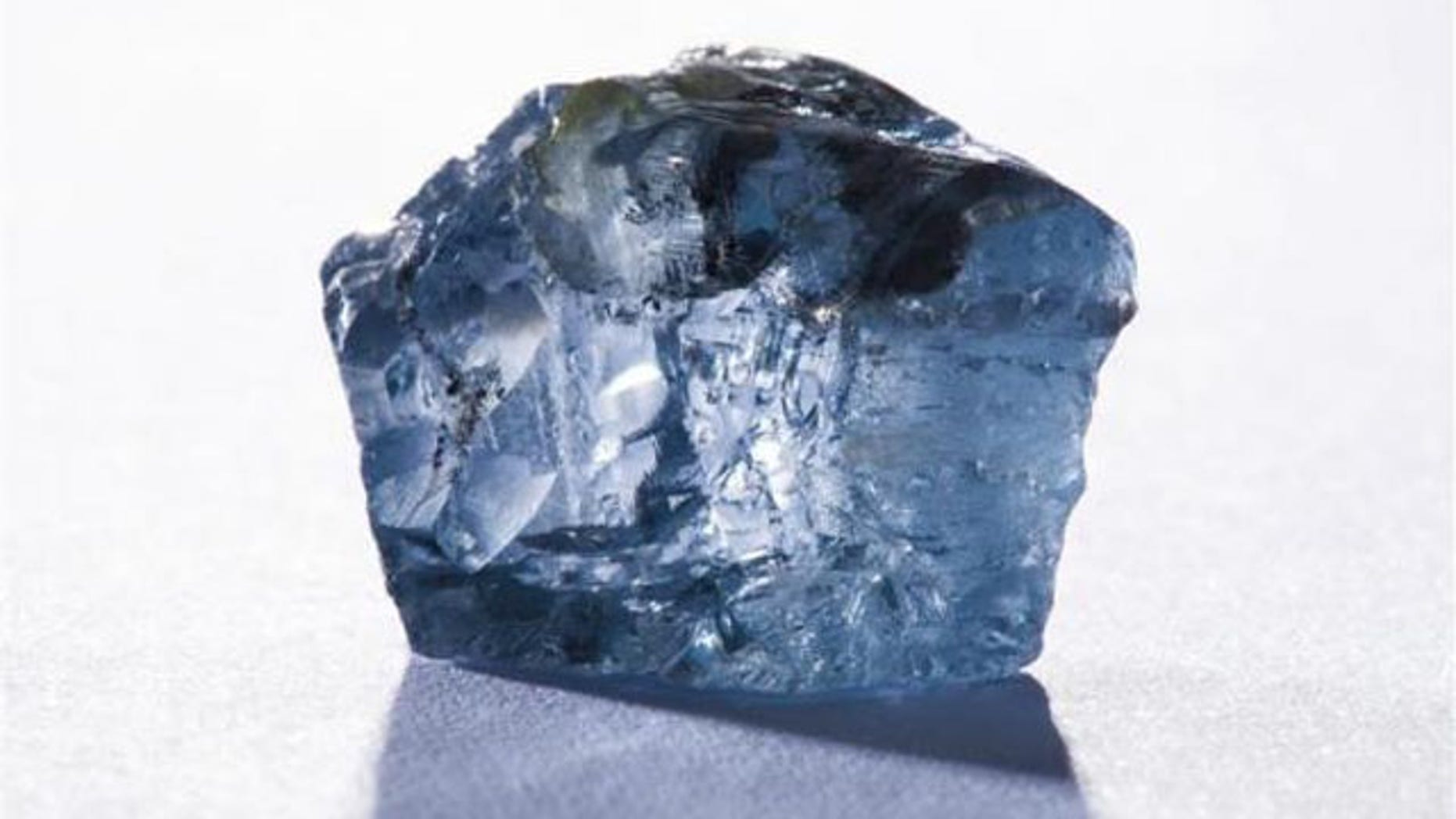 January 21, 2014: The exceptional 29.6 carat blue diamond recovered earlier this month is seen in this undated photograph received via Petra Diamonds. (Reuters/Petra Diamonds Limited/Handout)