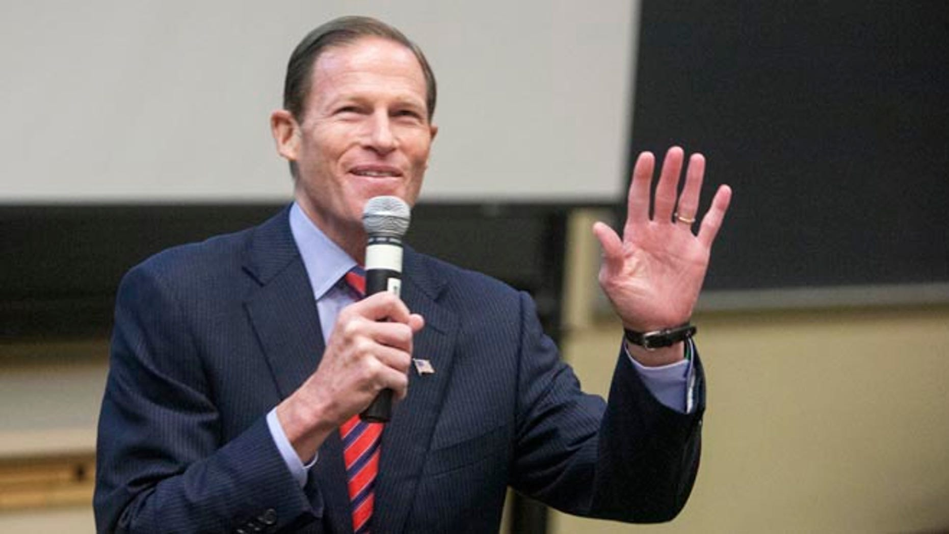 U.S. Senator Richard Blumenthal addresses the Marching On conference on gun violence prevention in Middletown, Connecticut September 28, 2013.   REUTERS/Michelle McLoughlin    (UNITED STATES - Tags: SOCIETY POLITICS) - RTR3FDZD