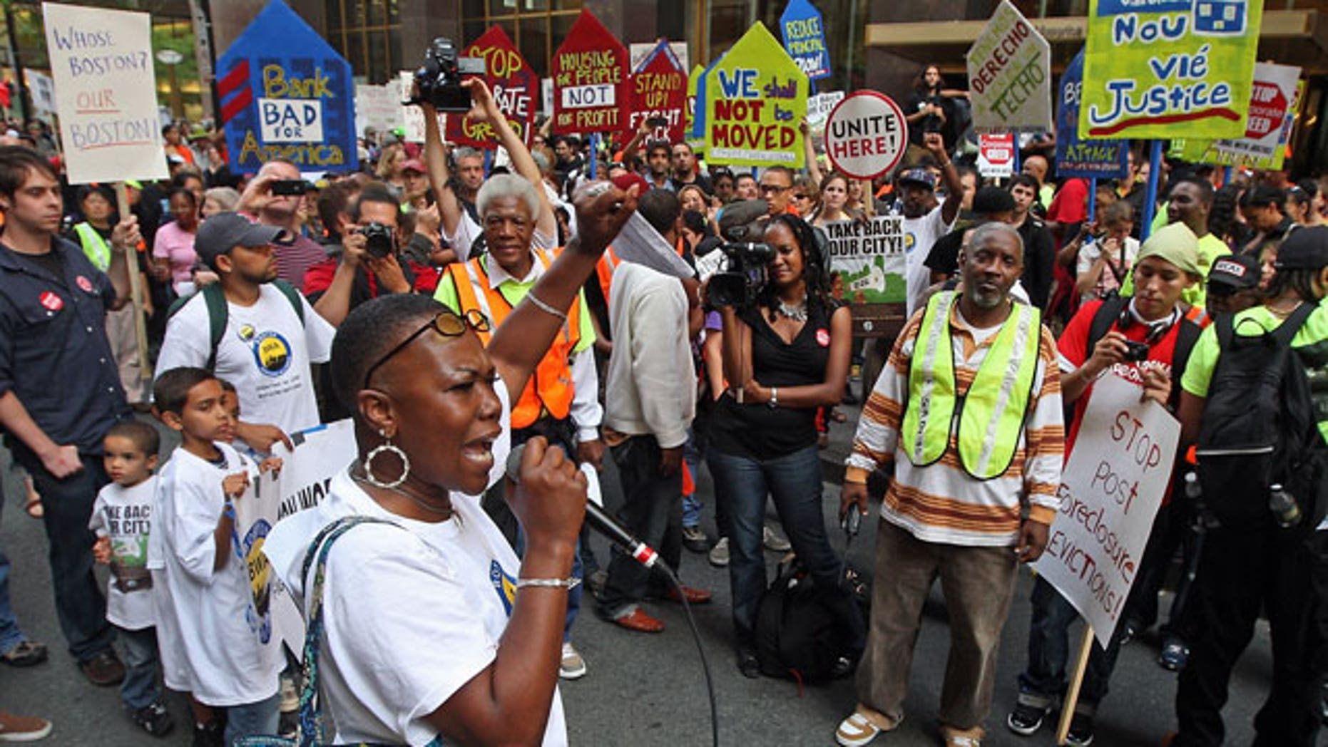 September 30: Protestors from the Boston Workers Alliance march in front of a Bank of America office.