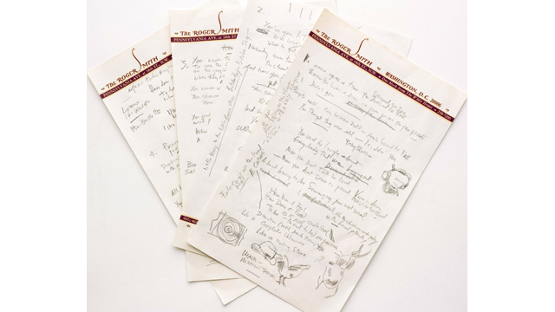 This undated photo provided by Sothebys shows a working draft  of Bob Dylans Like a Rolling Stone, one of the most popular songs of all time.  The draft, in Dylans own hand, is coming to auction in New York on June 24, 2014 where it could fetch an estimated $1 million to $2 million.  Sothebys says it is the only known surviving draft of the final lyrics for this transformative rock anthem. (AP Photo/Sothebys)