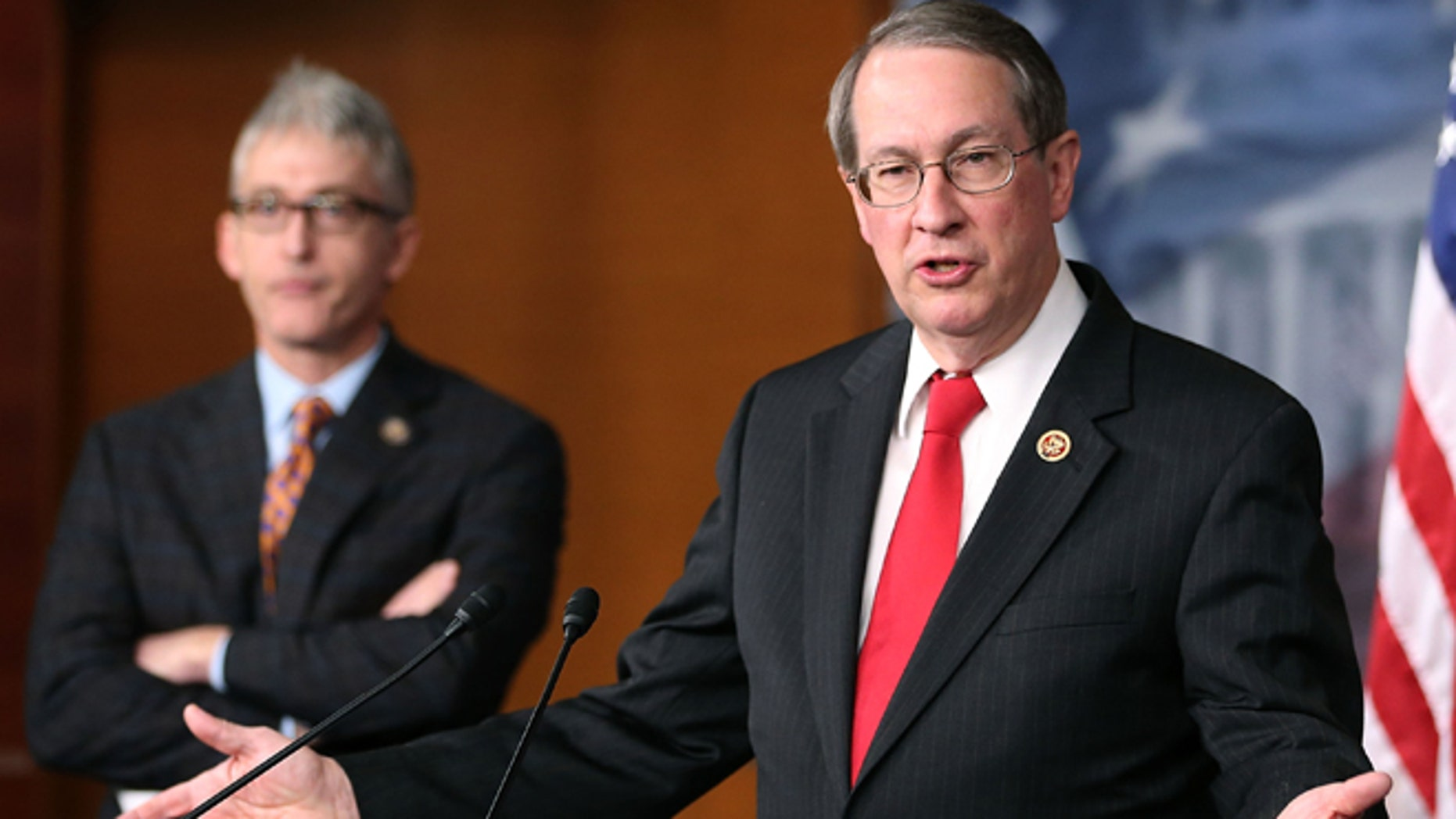 WASHINGTON, DC - APRIL 25:  Rep. Bob Goodlatte (R-VA) (R), Chairman of the House Judiciary Committee, and Rep. Trey Gowdy (R-SC) speak about immigration during a news conference on Capitol Hill, April 25, 2013 in Washington, DC. The news conference was held to discuss immigration control issues that are before Congress.  (Photo by Mark Wilson/Getty Images)