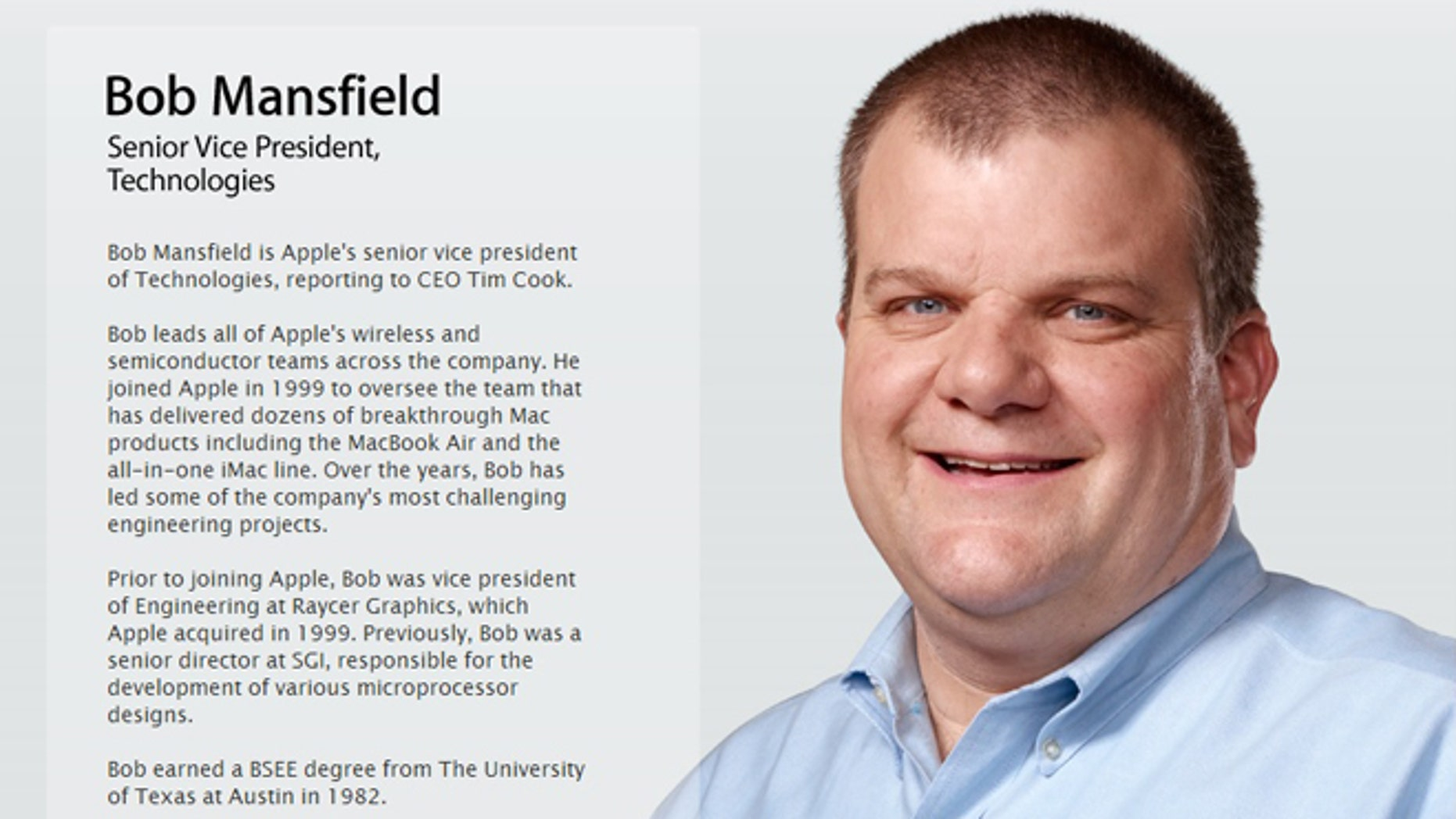 A screenshot of Apple's website offers a picture and description of Bob Mansfield, who was quietly removed from his senior position over the weekend.