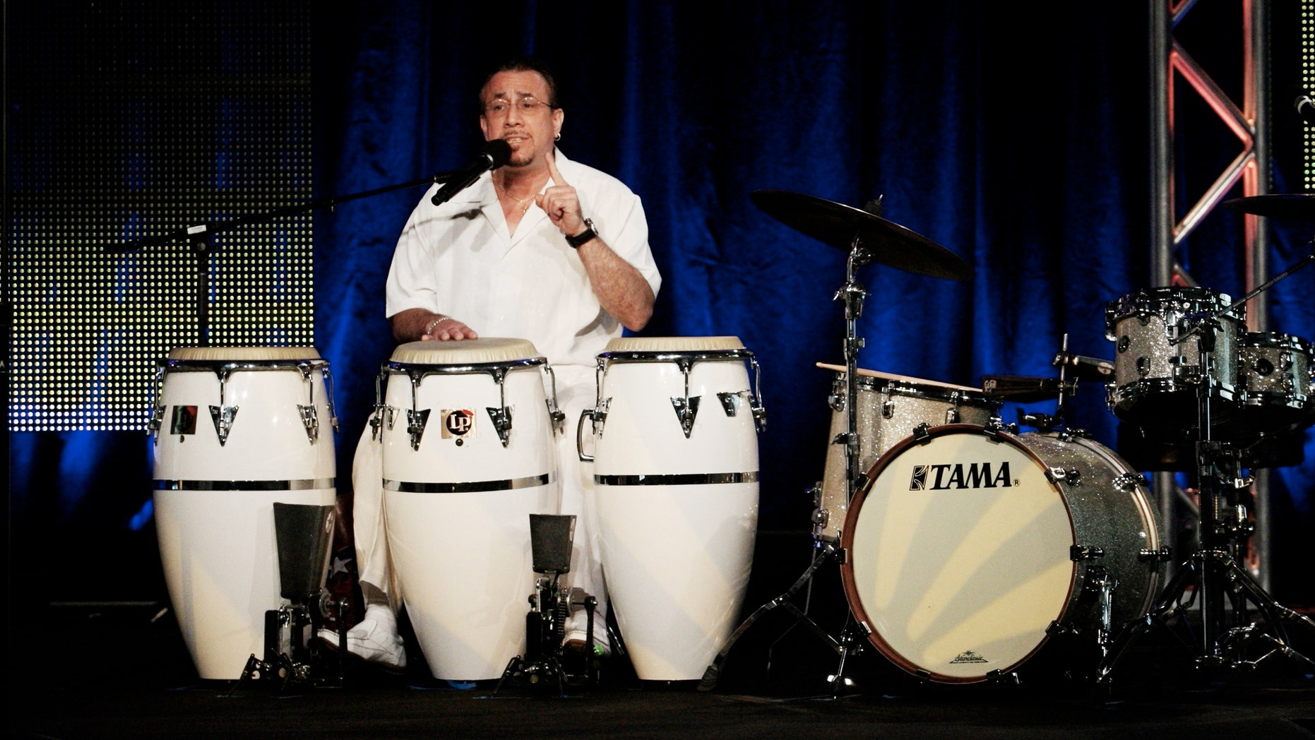 Percussionist Bobby Sanabria from the program 'Latin Music USA' speaks during the PBS portion of the 2009 Summer Television Critics Association Press Tour at the Ritz-Carlton Huntington Hotel on August 2, 2009 in Pasadena, California. (Photo by Frederick M. Brown/Getty Images)