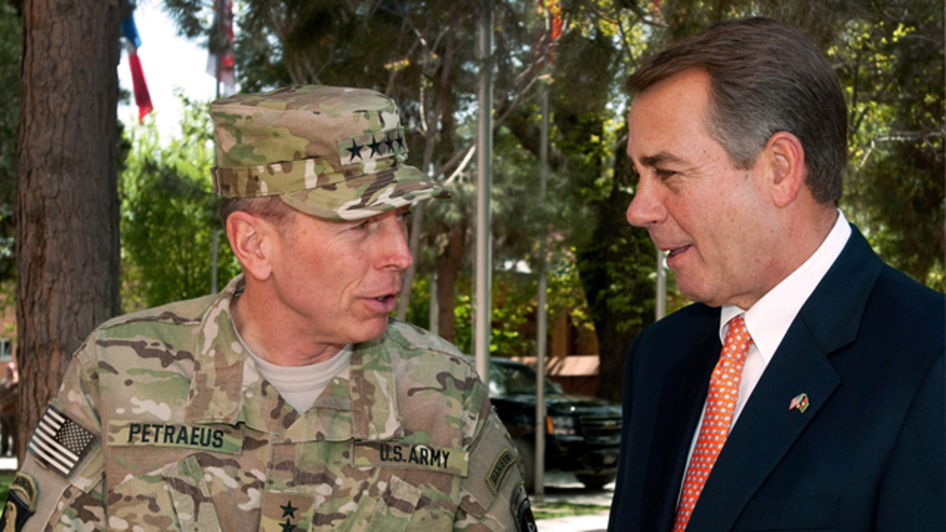 April 19: In this photo provided by ISAF Headquarters, U.S. Army Gen. David H. Petraeus, commander of NATO and International Security Assistance Force troops in Afghanistan, left, talks with House Speaker John Boehner of Ohio during a congressional delegation visit in Kabul, Afghanistan.
