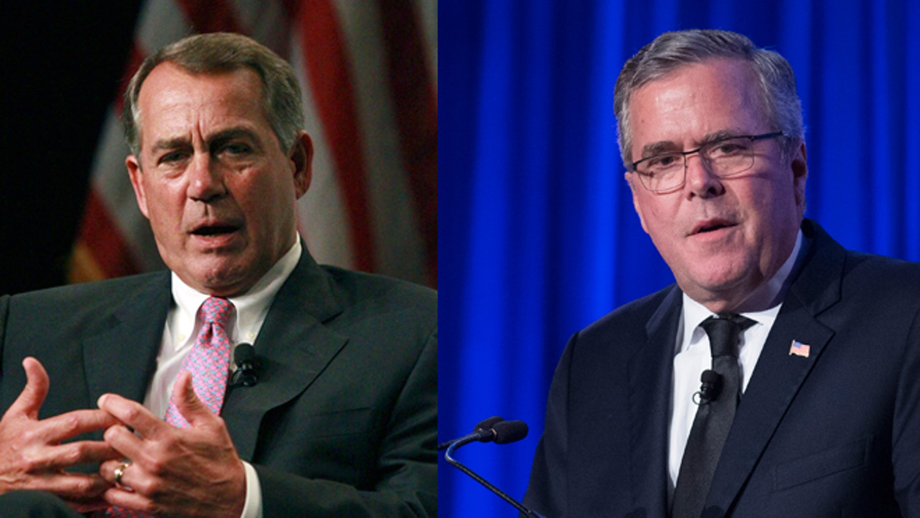 Left: House Speaker John Boehner speaks Monday May 12, 2014 at the Marriott Rivercenter in San Antonio. (AP Photo/San Antonio Express-News, John Davenport, Pool) Right: Former Florida Gov. Jeb Bush speaks at the Manhattan Institute for Policy Research Alexander Hamilton Award Dinner, Monday, May 12, 2014, in New York. (AP Photo/John Minchillo)