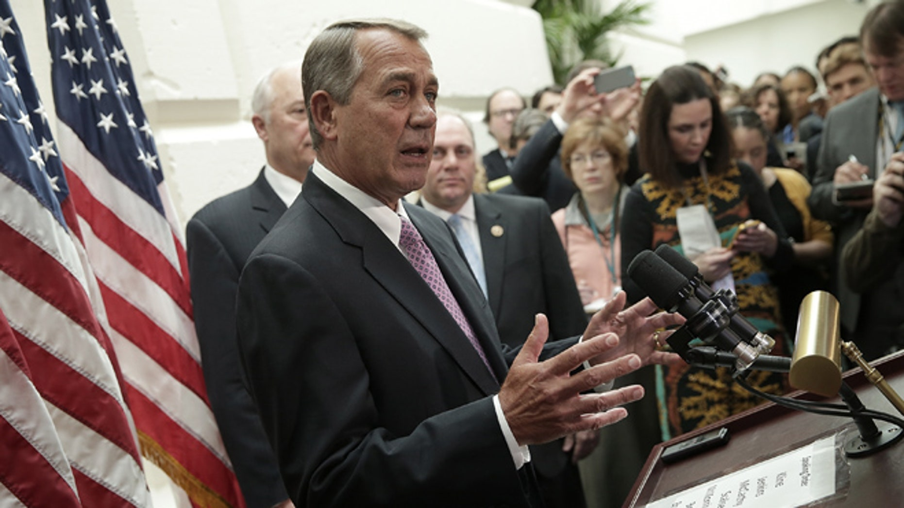 WASHINGTON, DC - FEBRUARY 25:  Speaker of the House John Boehner (R-OH) answers questions during a press conference following the weekly House Republican conference meeting at the U.S. Capitol February 25, 2015 in Washington, DC. With Department of Homeland Security funding set to expire on Friday of this week, Boehner and House Republican leadership faced numerous questions on a possible shutdown of DHS if a compromise is not reached with Democratic members of Congress.  (Photo by Win McNamee/Getty Images)