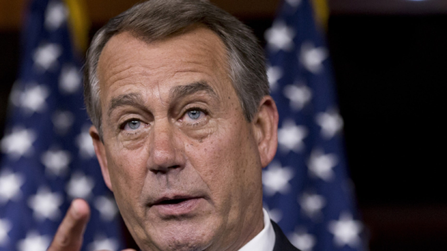 June 20, 2013. House Speaker John Boehner of Ohio speaks during a news conference on Capitol Hill in Washington. Republicans in the House are deeply divided over the immigration bill which passed June 27, 2013 in the Senate.