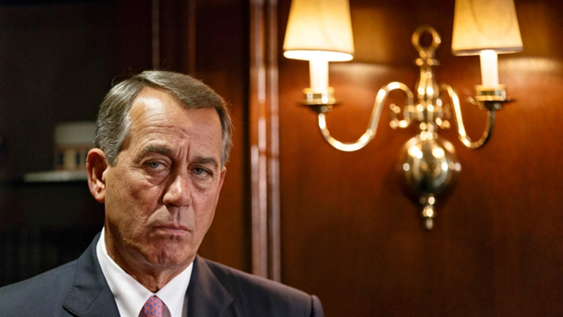 House Speaker John Boehner on Capitol Hill in Washington, Tuesday, April 29, 2014.