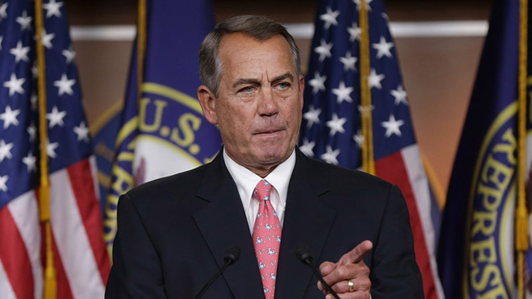 WASHINGTON, DC - MARCH 19:  Speaker of the House John Boehner (R-OH) answers questions during his weekly press conference at the U.S. Capitol on March 19, 2015 in Washington, DC. Boehner answered questions on the Republican budget, Hillary Clinton's emails, and other topics during the press conference.  (Photo by Win McNamee/Getty Images)