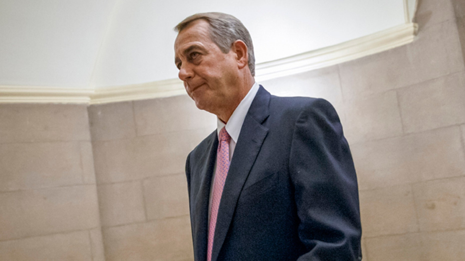 House Speaker John Boehner of Ohio walks to the House chamber on Capitol Hill in Washington, Tuesday, March 3, 2015. Boehnerâs job is safe despite passing yet another big bill that most of his Republican colleagues oppose, as he did Tuesday to avert defunding the Department of Homeland Security. But Boehner and his leadership team appear destined to confront fratricidal fights for months to come. The friction exposes deep GOP ideological differences as the 2016 presidential campaign gets under way.  (AP Photo/J. Scott Applewhite)