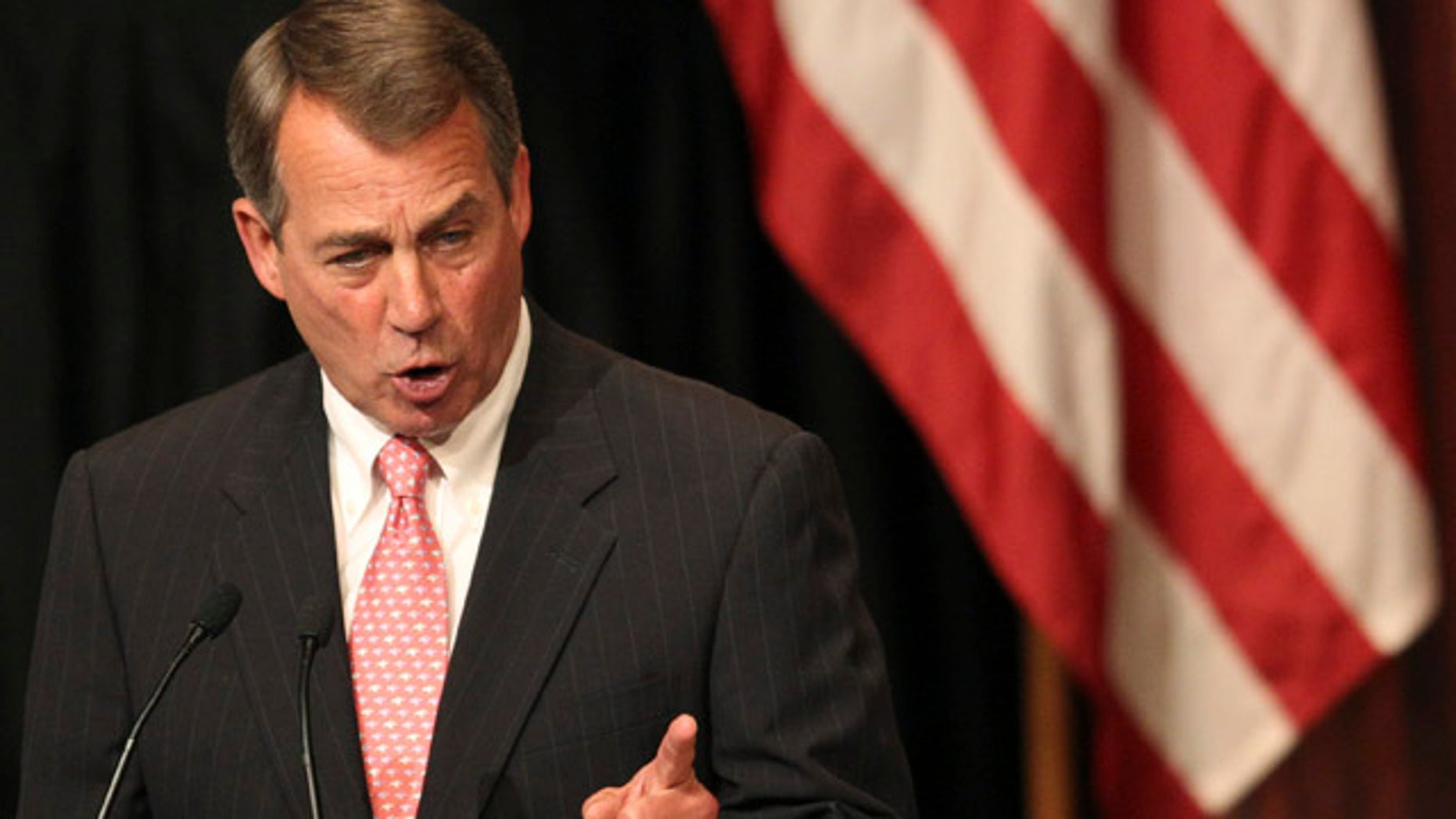 May 9: U.S. House Speaker John Boehner gestures as he addresses the Economic Club of New York