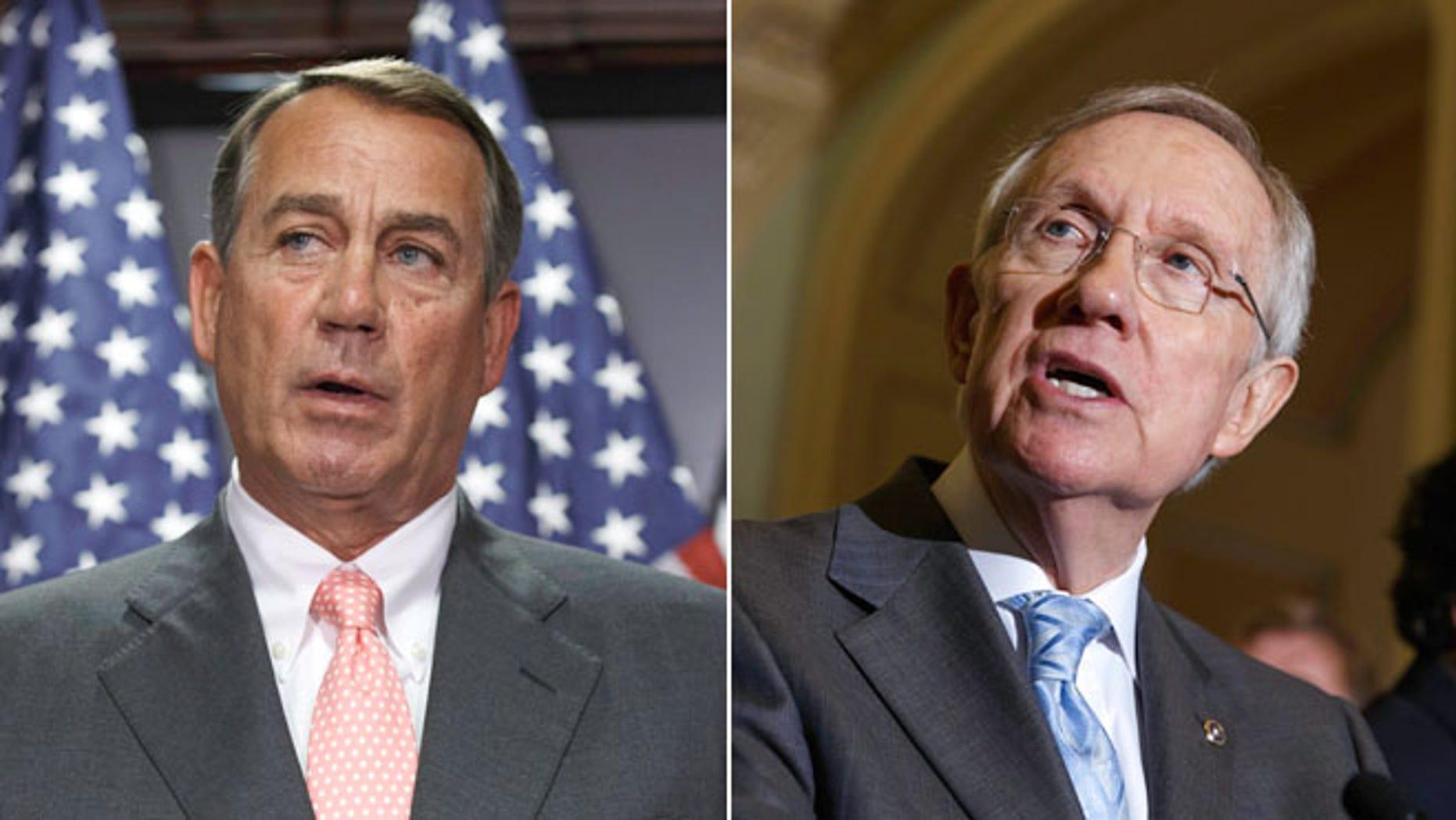 Speaker of the House John Boehner, Thursday, July 17, 2014 and Senate Majority Leader Harry Reid, Tuesday, July 15, 2014, on Capitol Hill in Washington.