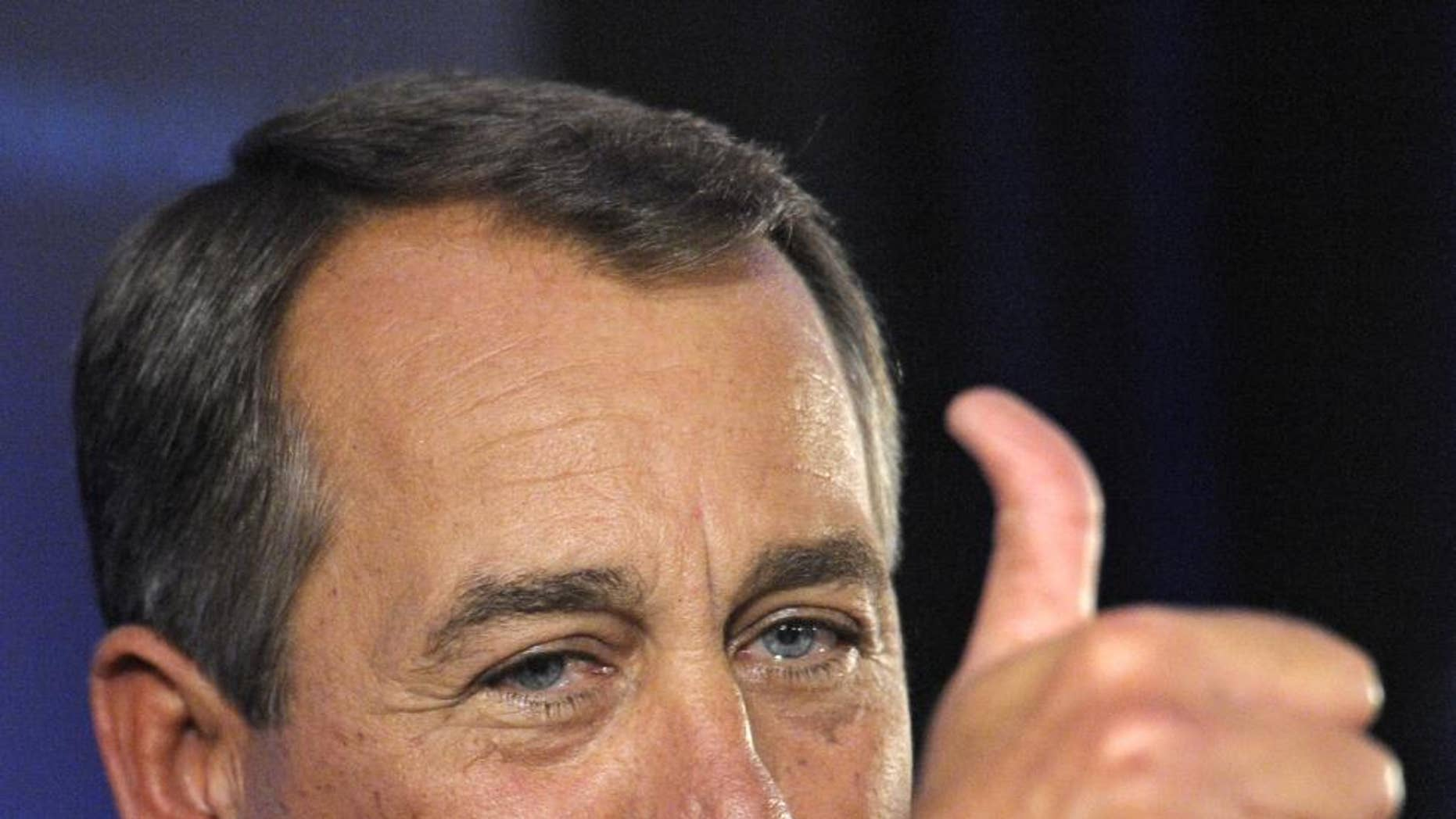 FILE - In this Nov. 2, 2010 file photo, House Republican leader John Boehner of Ohio celebrates the GOP's general election victory at the Grand Hyatt hotel in Washington. The Republicans' election wins left Boehner set to become speaker of the U.S. House. (AP Photo/Cliff Owen, File)