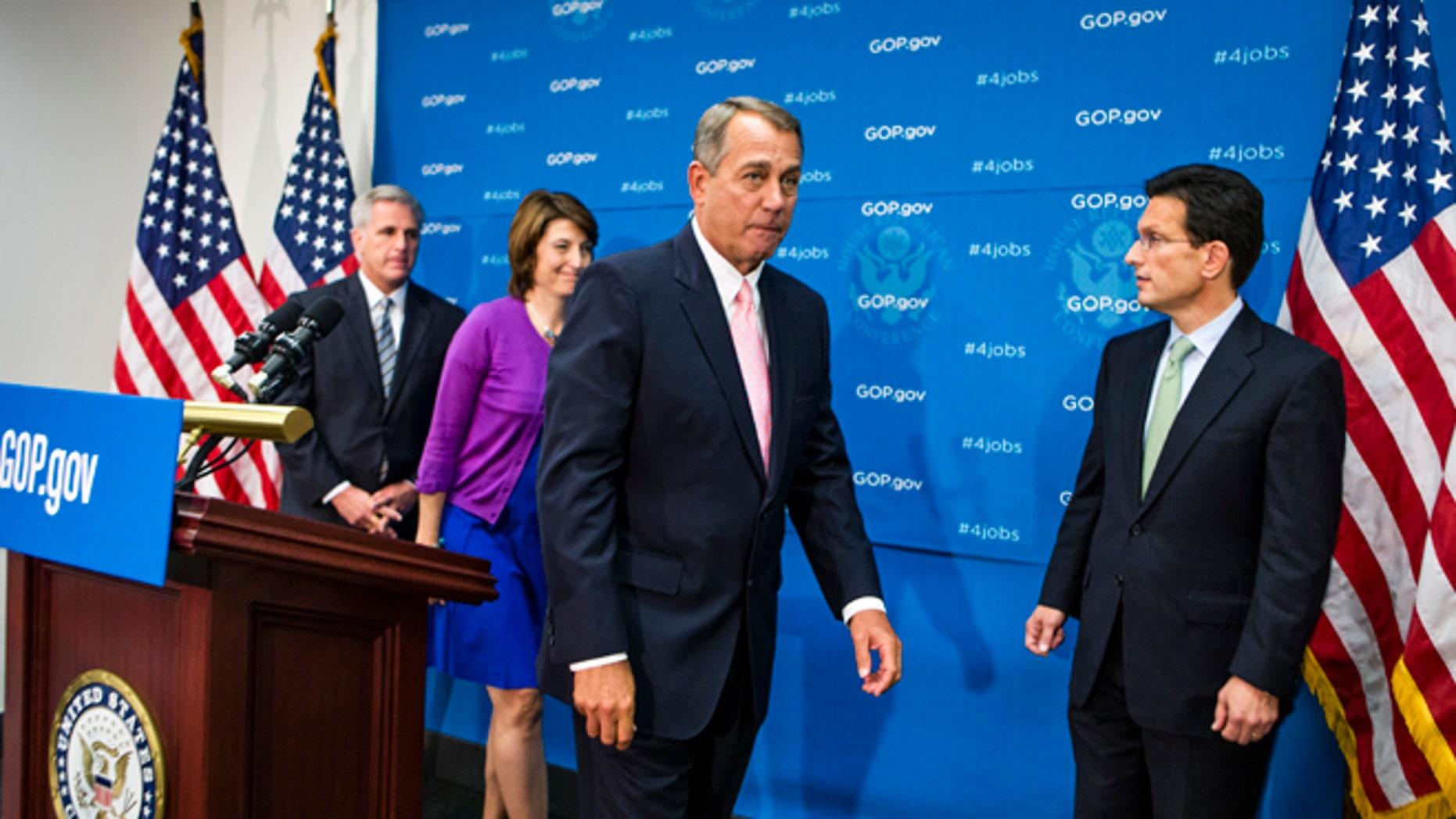 Sept. 10, 2013: House Speaker John Boehner, second from right, and other GOP leaders after a Capitol Hill new conference, in Washington, D.C.