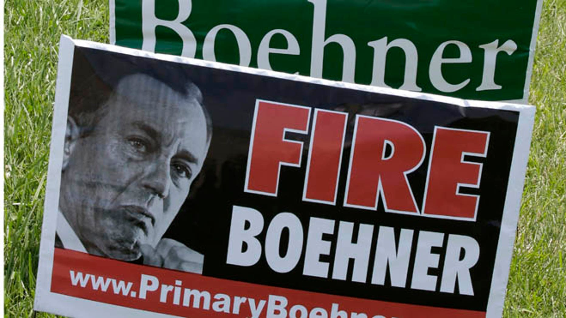 May 6, 2014: Campaign signs for Speaker John Boehner and one of his opponents, J.D. Winteregg, In West Chester, Ohio.