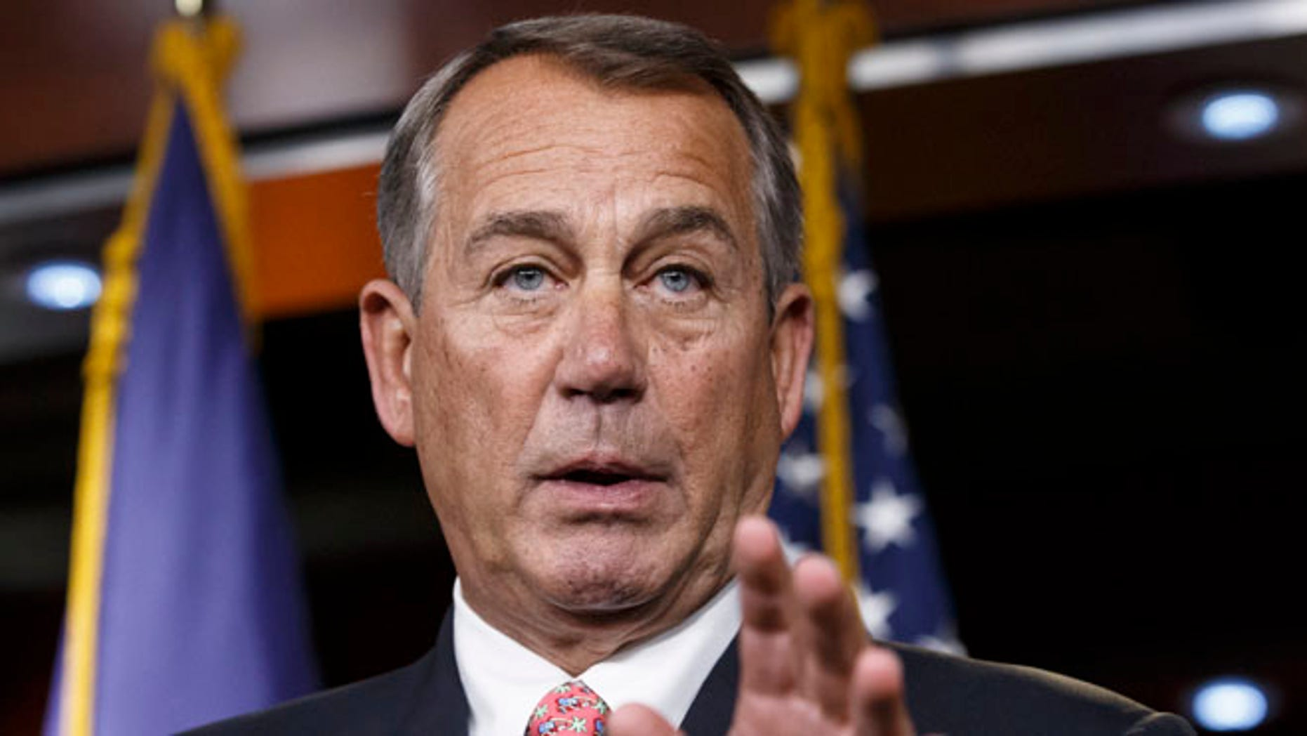 FILE: Dec. 11, 2014: House Speaker John Boehner speaks at a news conference on Capitol Hill, in Washington, D.C.