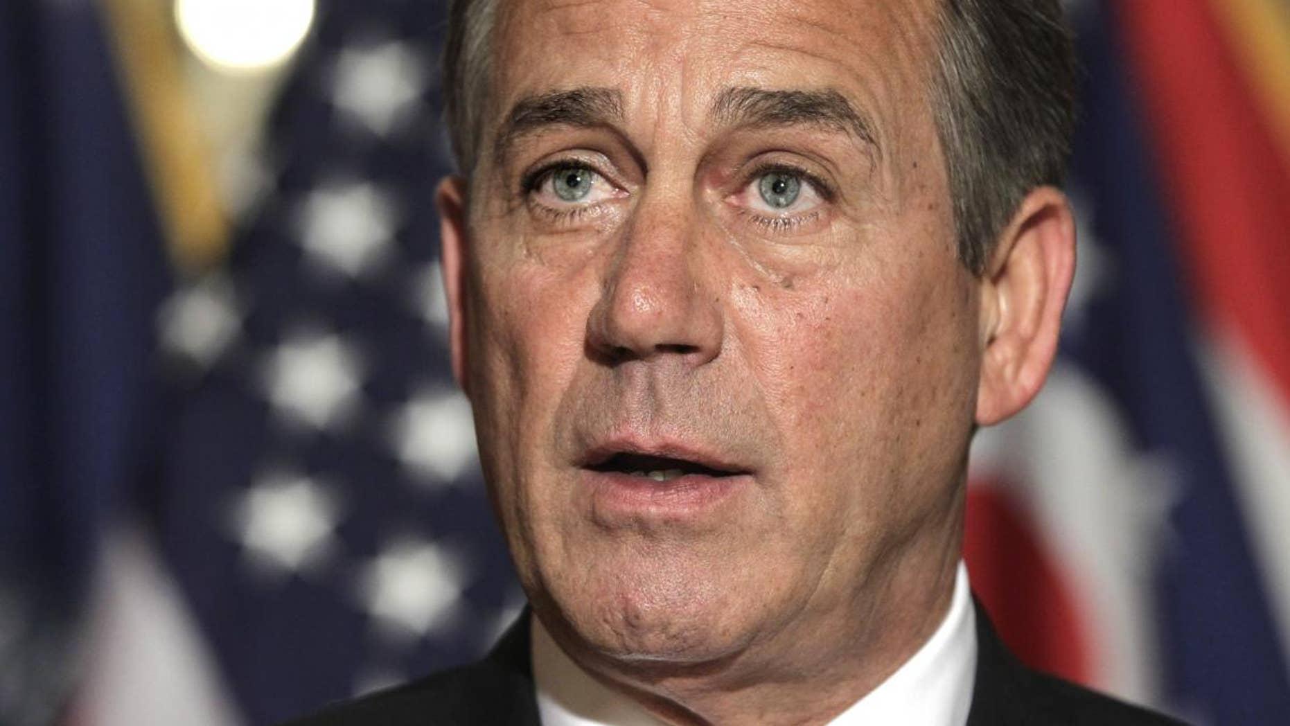 House Speaker John Boehner of Ohio speaks on Capitol Hill in Washington, Friday, April 8, 2011, to respond to criticism by Senate Majority Leader Harry Reid of Nev. on the budget impasse. (AP Photo/J. Scott Applewhite)