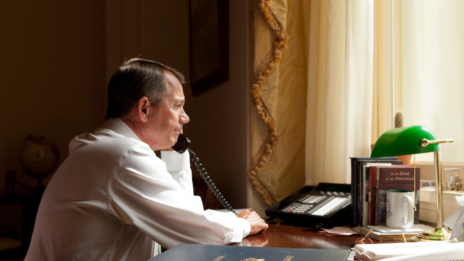 House Speaker Boehner's office.  Speaker Boehner talks with President Obama about the president's plan in Afghanistan.