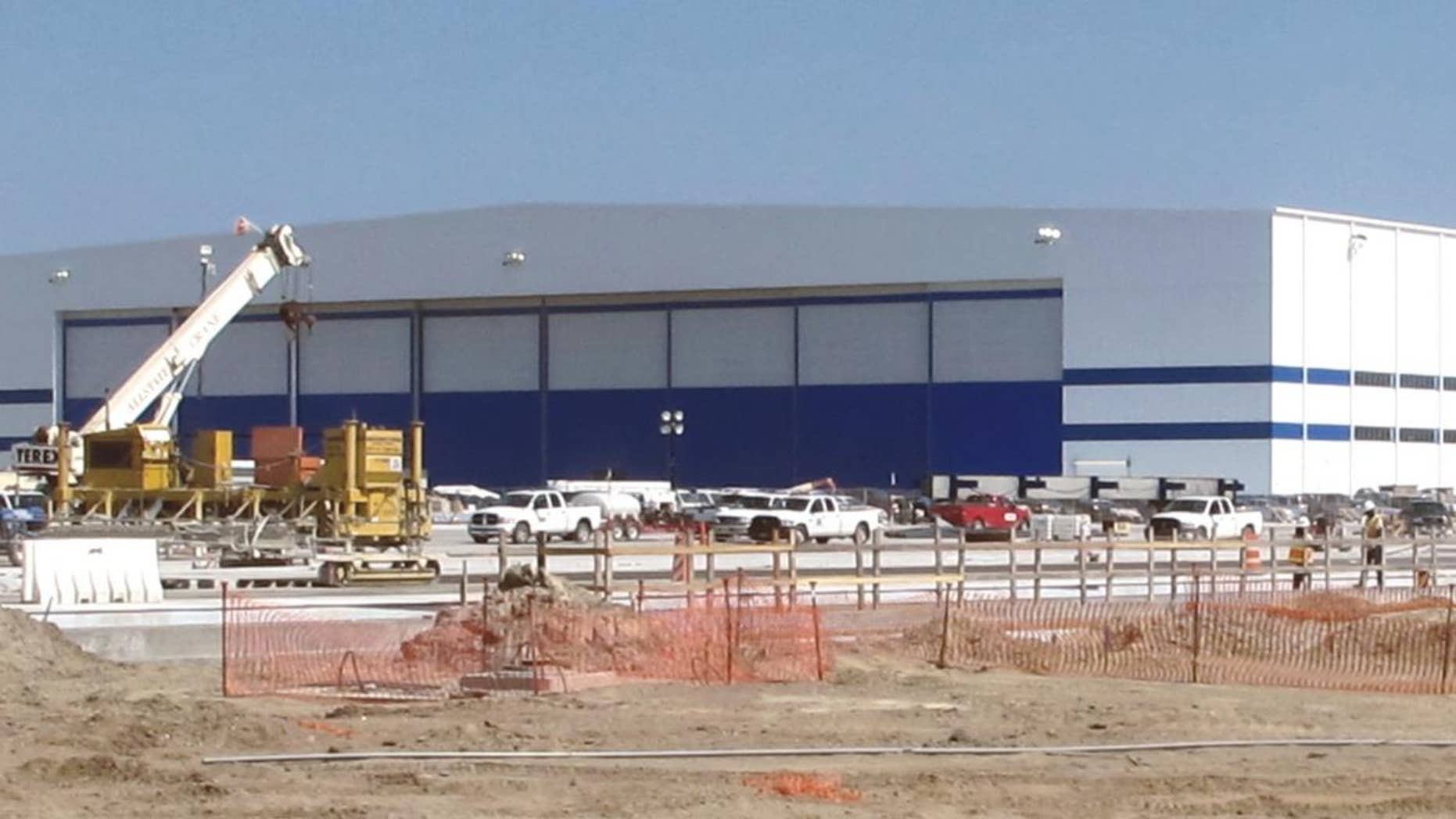 Work continues Tuesday, April 19, 2011, at the Boeing's new aircraft assembly site in North Charleston, S.C. (AP Photo/Bruce Smith)