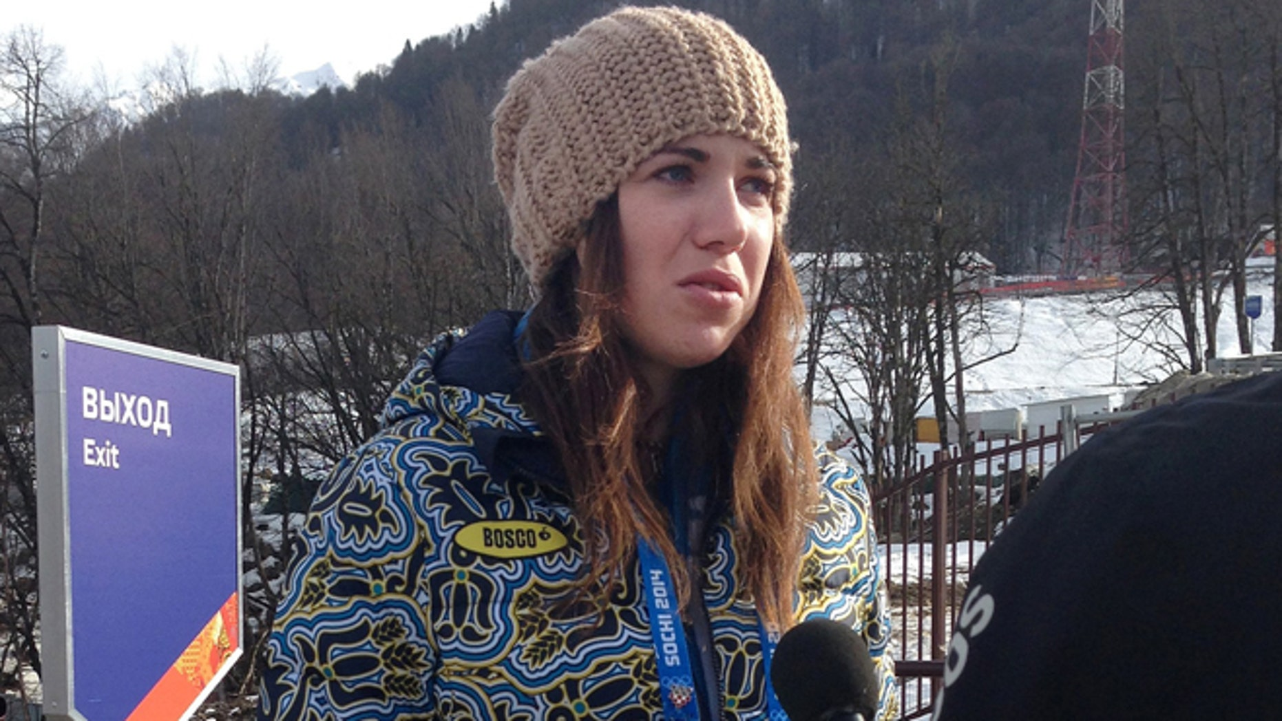 Feb. 20, 2014: Ukrainian skier Bogdana Matsotska speaks during an interview with the Associated Press at the Sochi 2014 Winter Olympics in Krasnaya Polyana, Russia. The International Olympic Committee said on Thursday, Feb. 20, that Matsotska is leaving the Olympics in response to the violence in her country.