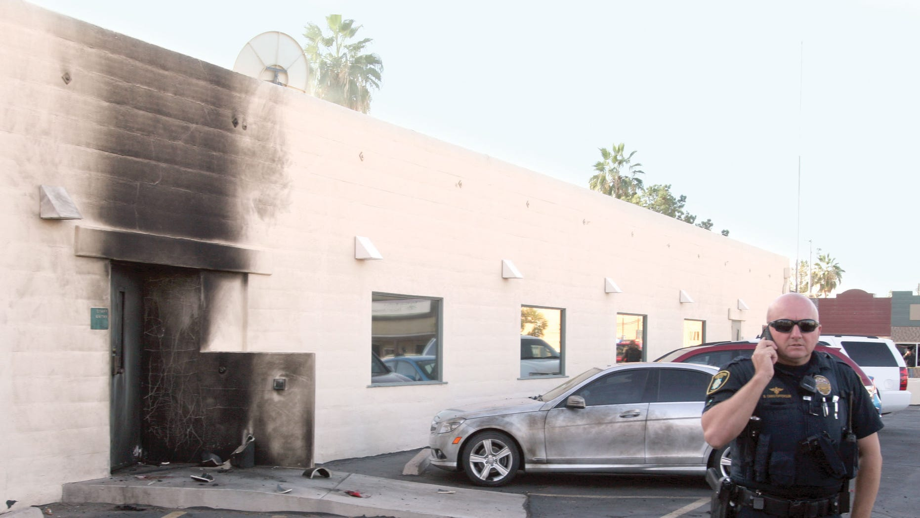 Nov. 30, 2012: Police investigate an apparent bomb explosion at the Social Security Administration office on Marshall Street in downtown Casa Grande, Ariz.