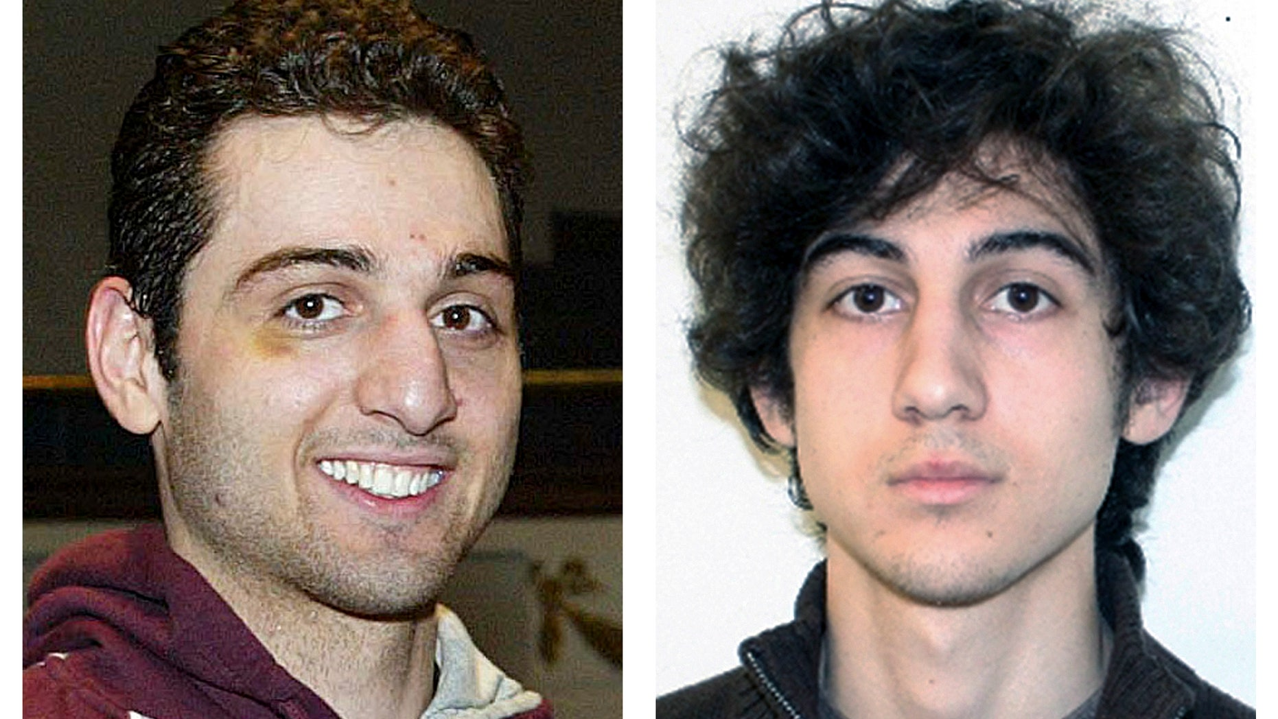 This combination of file photos shows brothers Tamerlan, left, and Dzhokhar Tsarnaev, suspects in the Boston Marathon bombings on April 15, 2013.