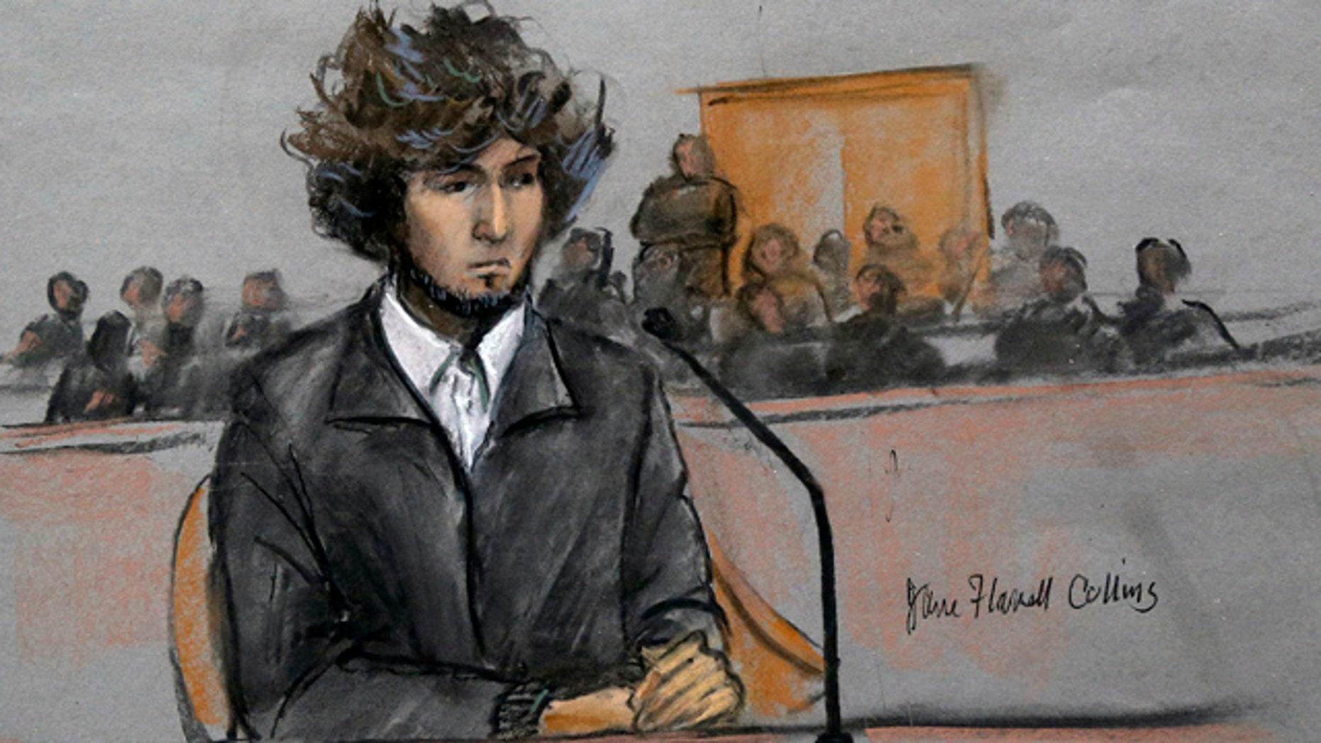FILE - In this Dec. 18, 2014, courtroom sketch, Boston Marathon bombing suspect Dzhokhar Tsarnaev sits in federal court in Boston. (Jane Flavell Collins via AP, File)
