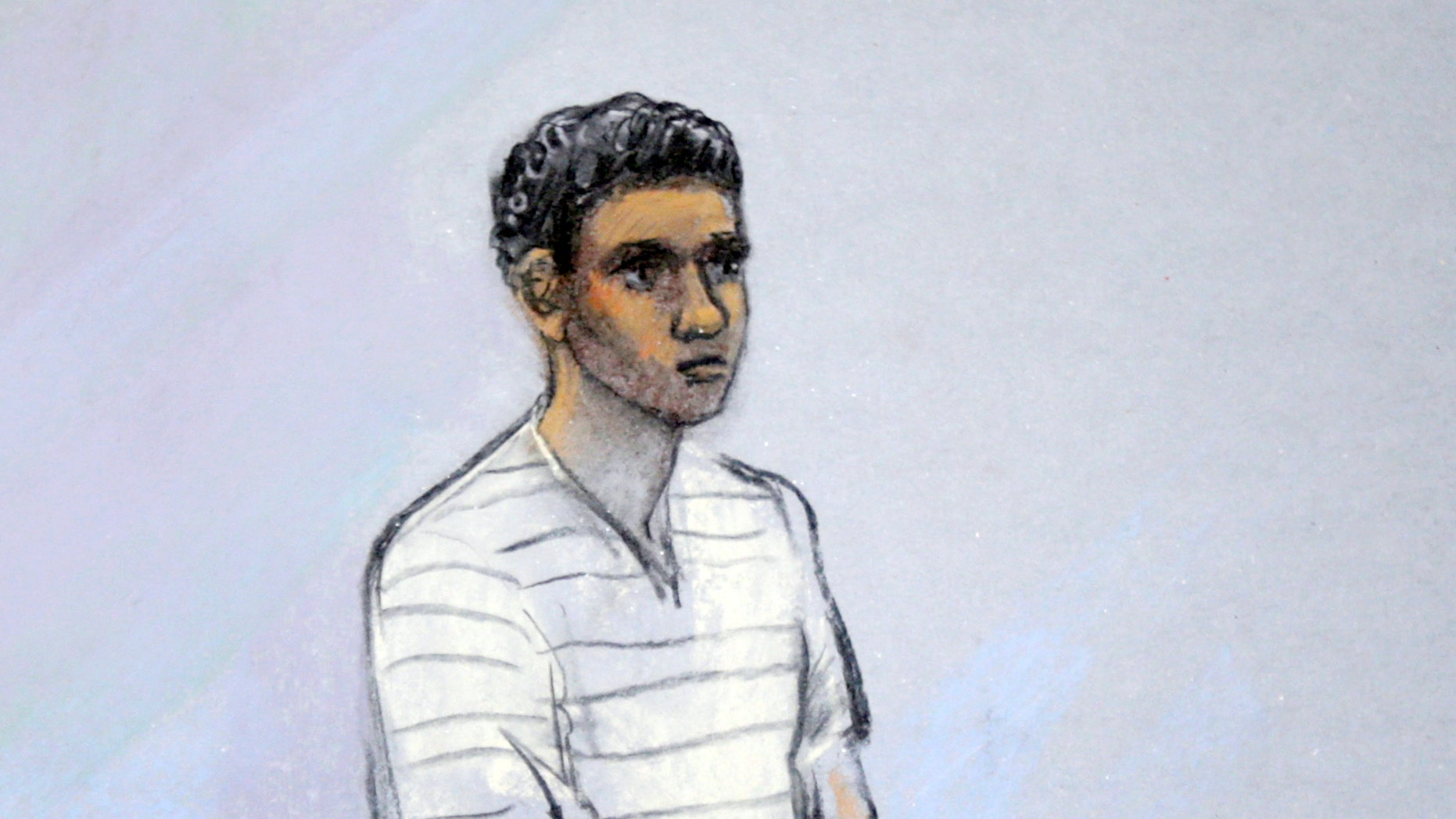 May 1, 2013 - FILE courtroom sketch of Robel Phillipos appearing in federal court, in Boston. Phillipos, a friend of Boston Marathon bombing suspect Dzhokhar Tsarnaev, was indicted for allegedly making false statements to authorities. Prosecutors said he faces up to 16 years in prison in connection with two federal criminal counts.