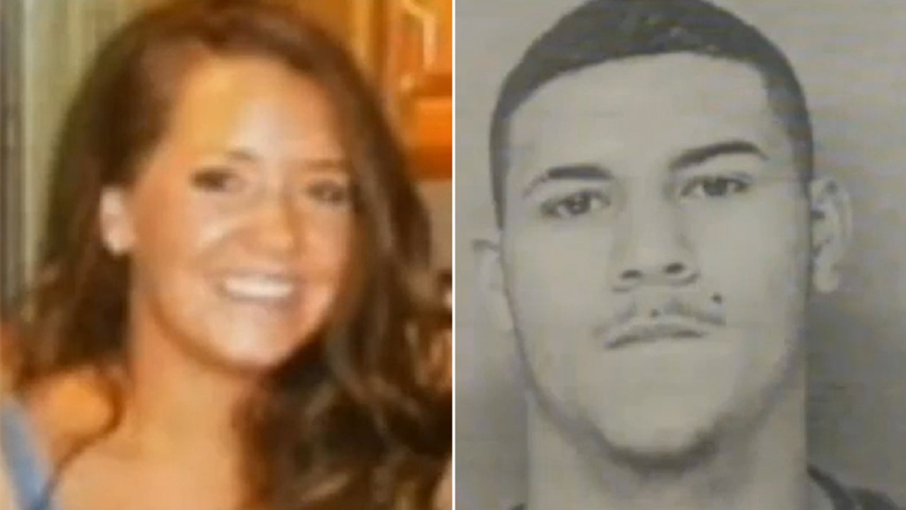 """This undated photo shows Amy Lord, left, who was abducted and fatally stabbed Tuesday.  Edwin Alemany, right, is now being called a """"person of interest"""" in the case."""