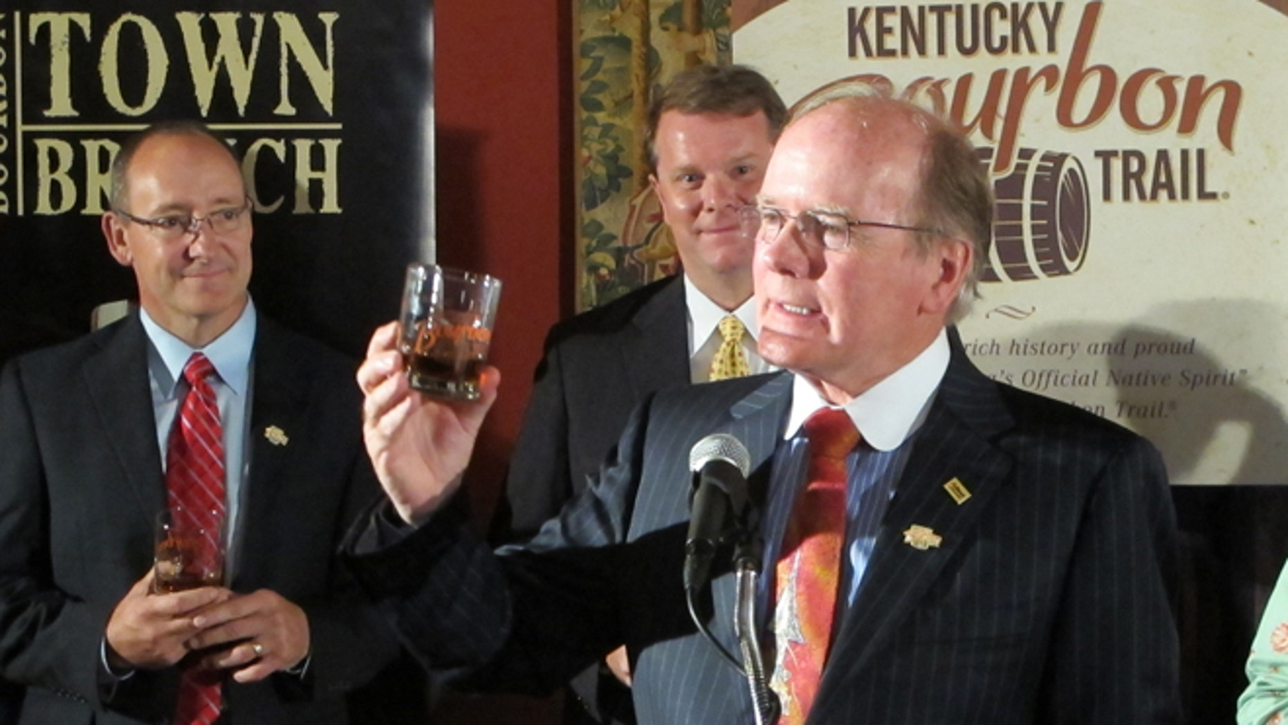 Aug. 16, 2012: Alltech President Pearse Lyons raises his glass as Alltechs Lexington Brewing & Distilling Co. joins the Kentucky Bourbon Trail.