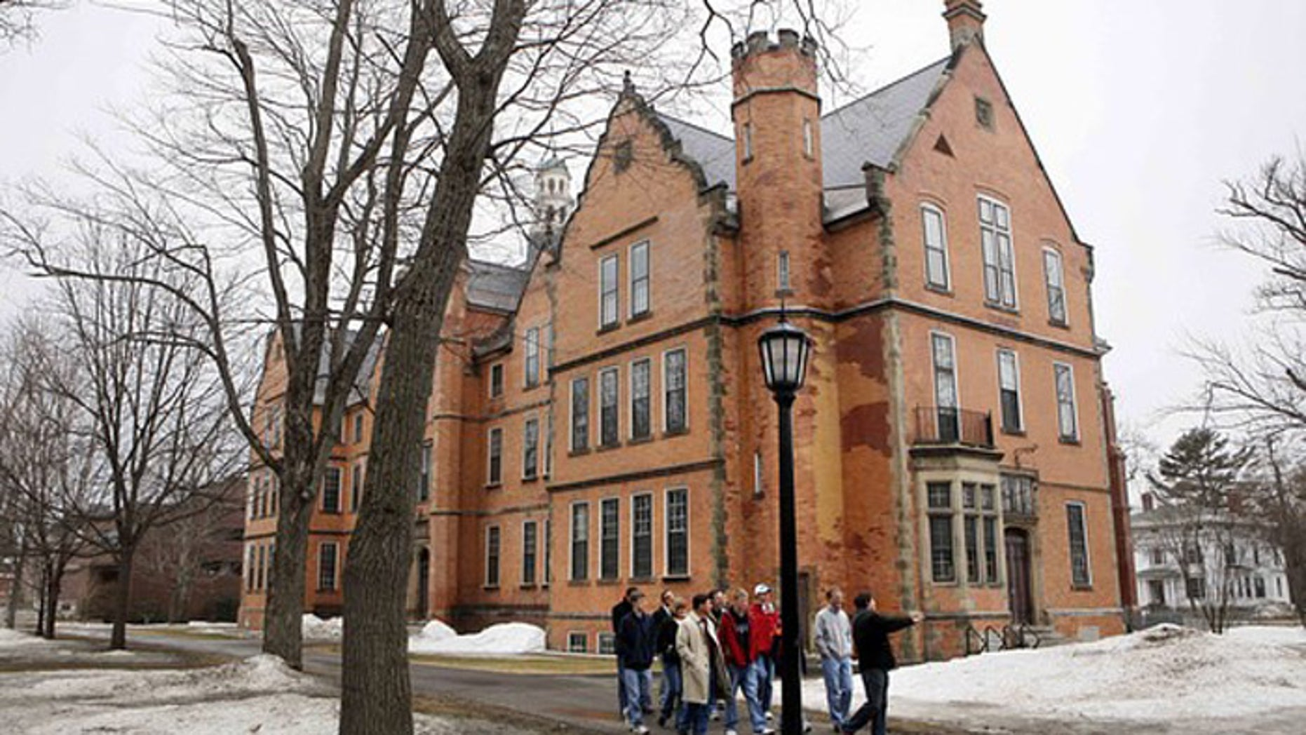 Prospective students and their parents tour the campus of Bowdoin College in Brunswick, Maine, in March 2009. (AP)