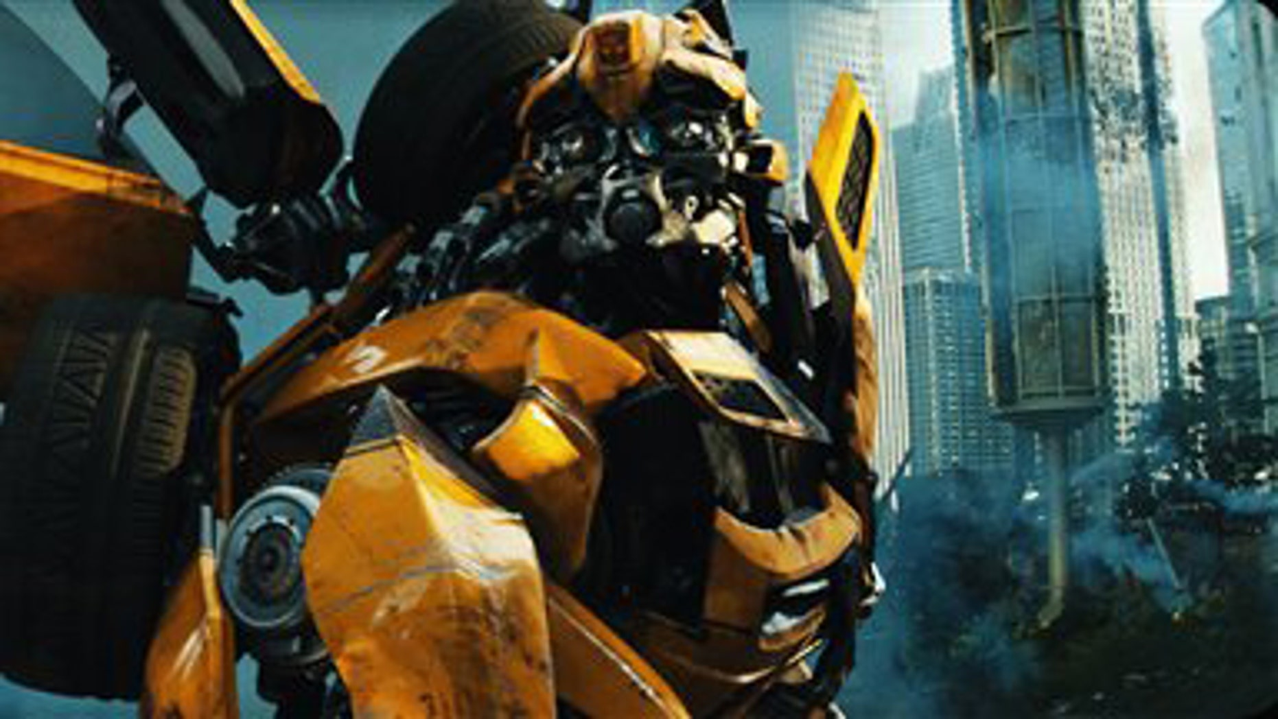 """In this publicity image released by Paramount Pictures, Bumblebee is shown in a scene from """"Transformers: Dark of the Moon."""""""