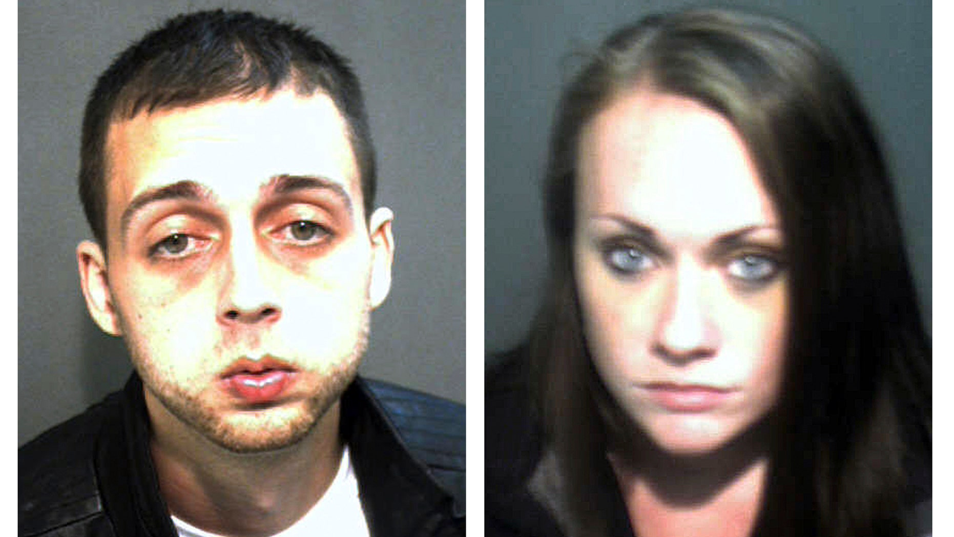 Nov. 28, 2012: These booking photos released by the Orange County Corrections Department show Roland Dow, left, and Jessica Linscott, of Plaistow, N.H., who were arrested Wednesday evening at Universal Studios in Orlando, Fla.