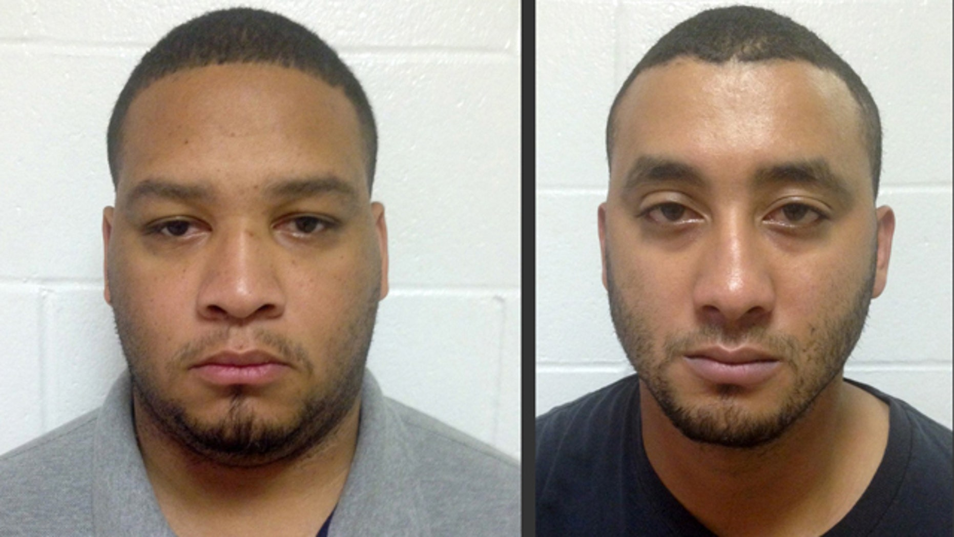 FILE - These undated file booking photos provided by the Louisiana State Police shows Marksville City Marshal Derrick Stafford, left, and Marksville City Marshal Norris Greenhouse Jr. (Louisiana State Police via AP, File)
