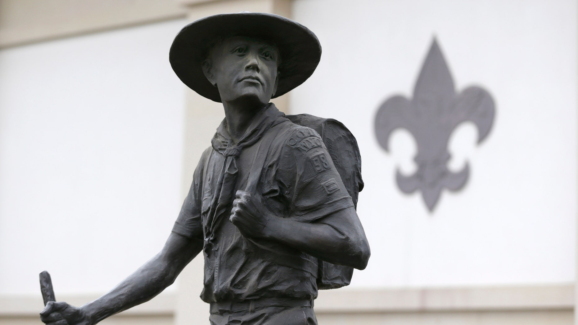 Jan. 28, 2013: A statue of a Boy Scout stands in front of the National Scouting Museum in Irving, Texas.