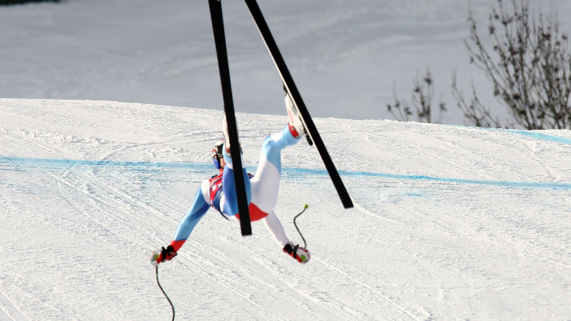 Swiss skier Daniel Albrecht as he lost control during a downhill training on the legendary Streif downhill course in Kitzbuehel, Austria. (AP Photo/Giovanni Auletta, File)