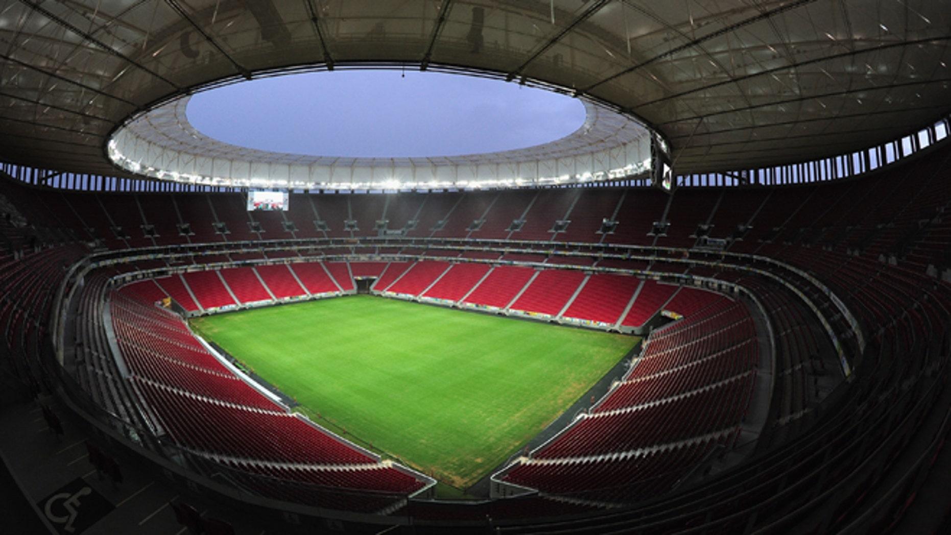 BRASILIA, BRAZIL - DECEMBER 09:  A general view of the Mane Garrincha Stadium venue for the 2014 FIFA World Cup Brazil on December 9, 2013 in Brasilia, Brazil.  (Photo by Shaun Botterill/Getty Images,)