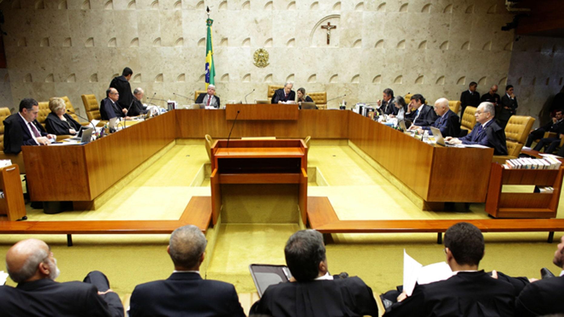 Brazil's Supreme Court holds session on the impeachment proceedings in Brasilia, Brazil, Thursday, April 14, 2016.