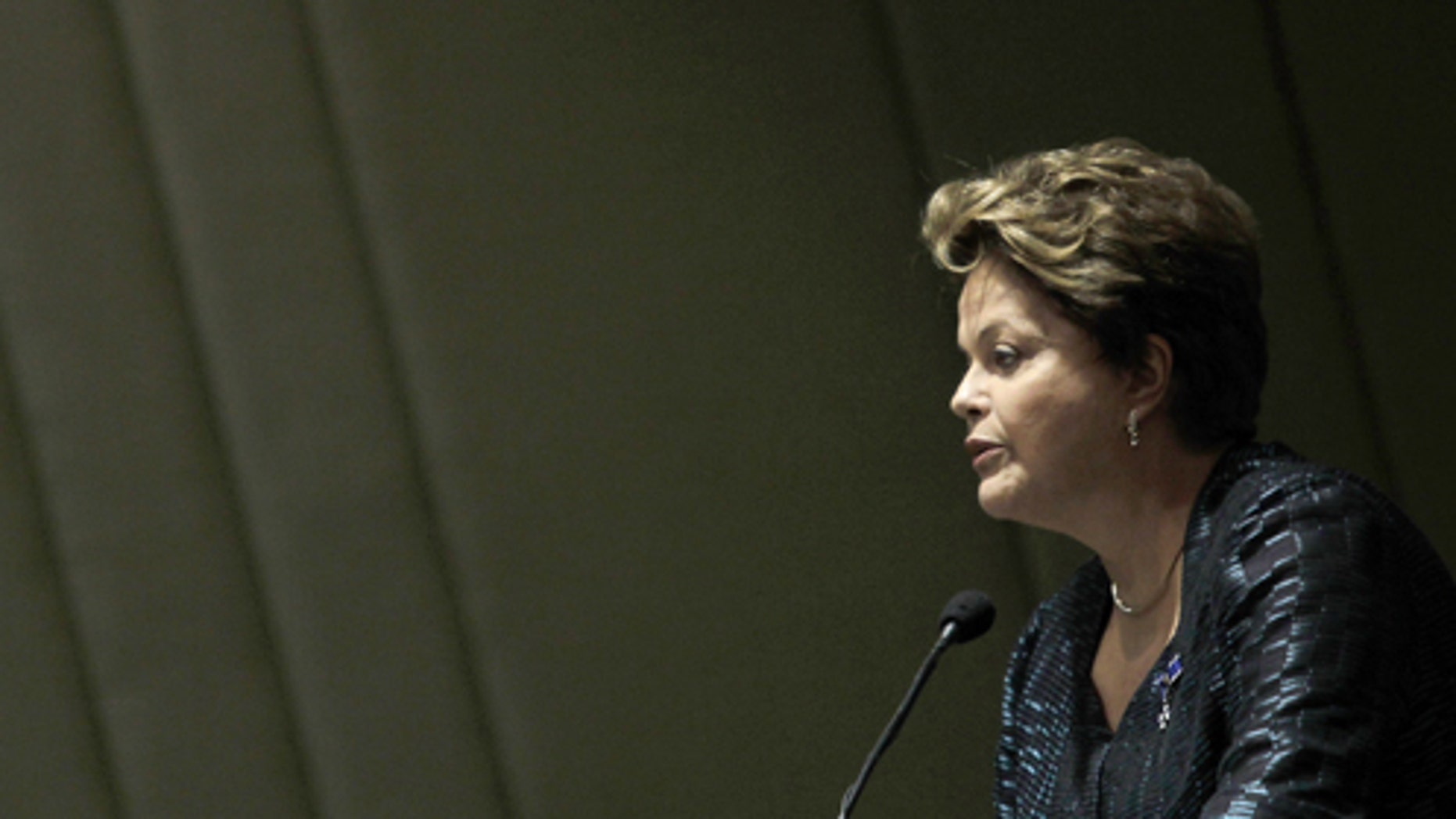 Brazil's President Dilma Rousseff, speaks at a graduation ceremony for graduates of the  Rio Branco Institute, at the Itamaraty Palace in Brasilia, Brazil, Monday, June 17, 2013. Brazilian protesters angered by a hike in bus and subway fares are promising to hold their biggest demonstration yet. However, police say they will take a less confrontational approach and will not use rubber bullets during Monday's planned protest. Authorities say they want to avoid a repeat of last week's bloody clashes in Sao Paulo. About 100 demonstrators were hurt during that violent protest last Thursday. (AP Photo/Eraldo Peres)