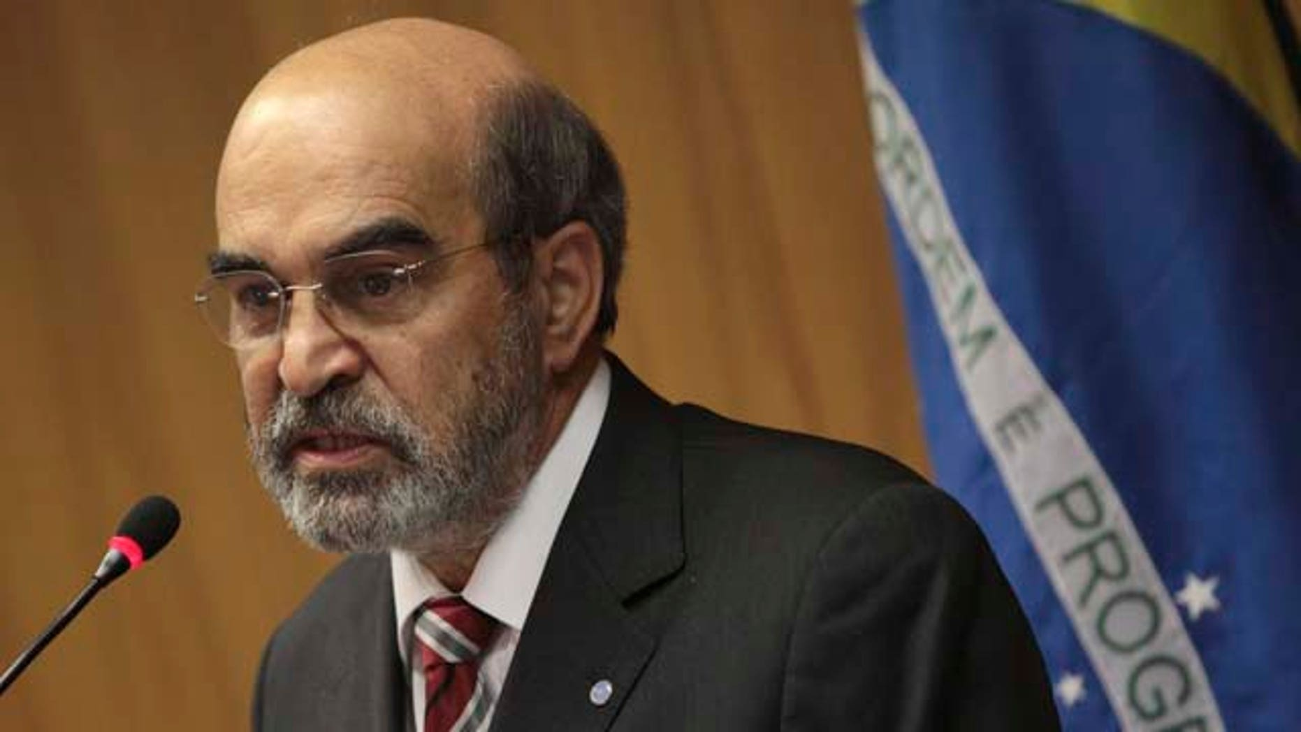 """In this picture taken Aug. 3, 2011, Jose Graziano da Silva, the new Director-General of the UN Food and Agriculture Organization (FAO), speaks during a news conference at Itamaraty palace in Brasilia, Brazil. Graziano, a former Brazilian food security minister, is one of the creators of the nation's """"Zero Hunger"""" social programs which includes """"Bolsa Familia"""" or """"Family Grant"""", the biggest program that gives money directly to poor households. That same idea may now get a global tryout as world food prices spike, economies everywhere sputter and a horrific famine desolates East Africa. (AP Photo/Eraldo Peres)"""