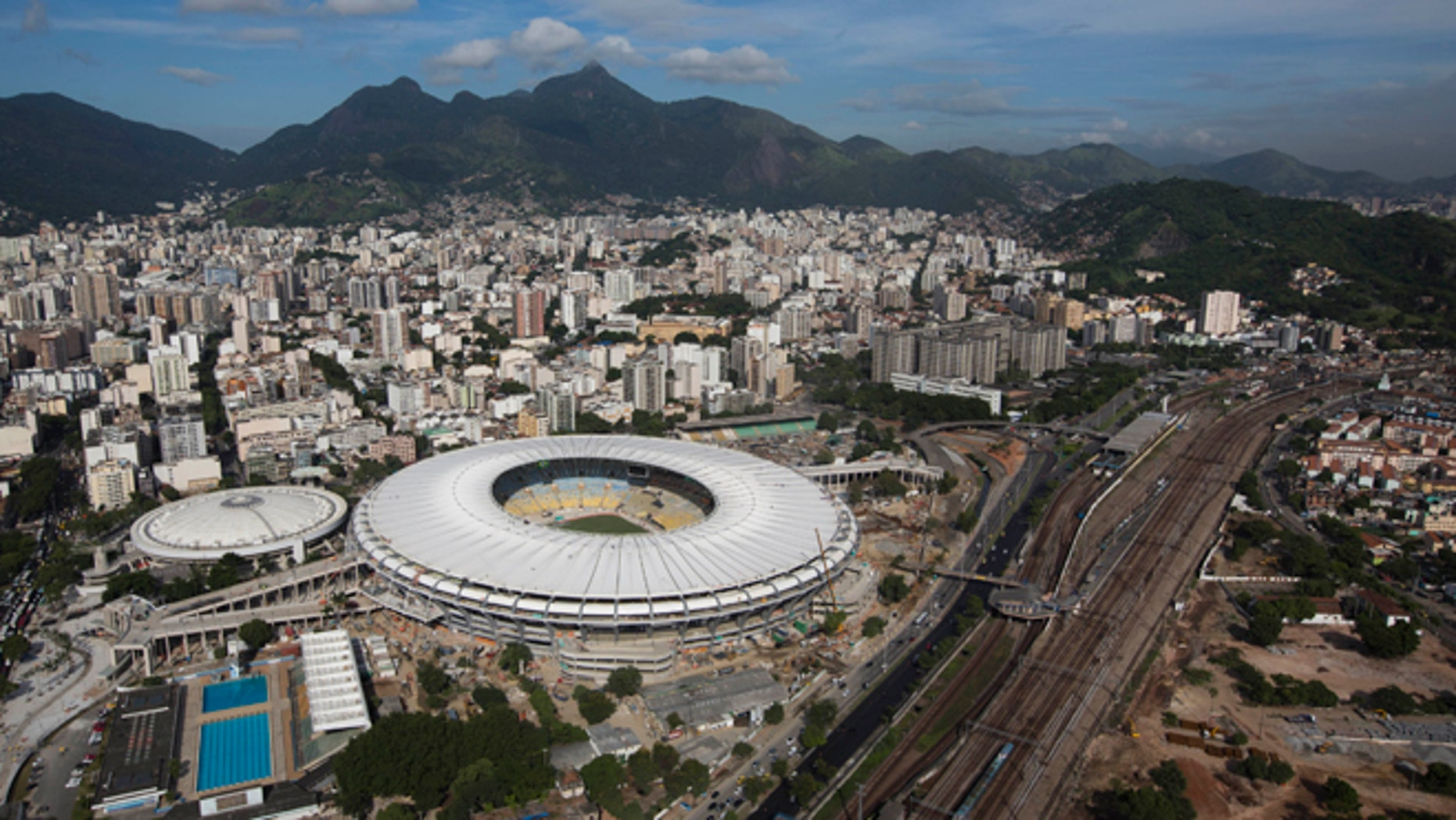 Aerial view shows the new rooftop of the Maracana Stadium, which is undergoing renovations in preparation for the 2013 Confederations Cup and 2014 World Cup in Rio de Janeiro, Brazil, Thursday, April 11, 2013. (AP Photo/Felipe Dana)