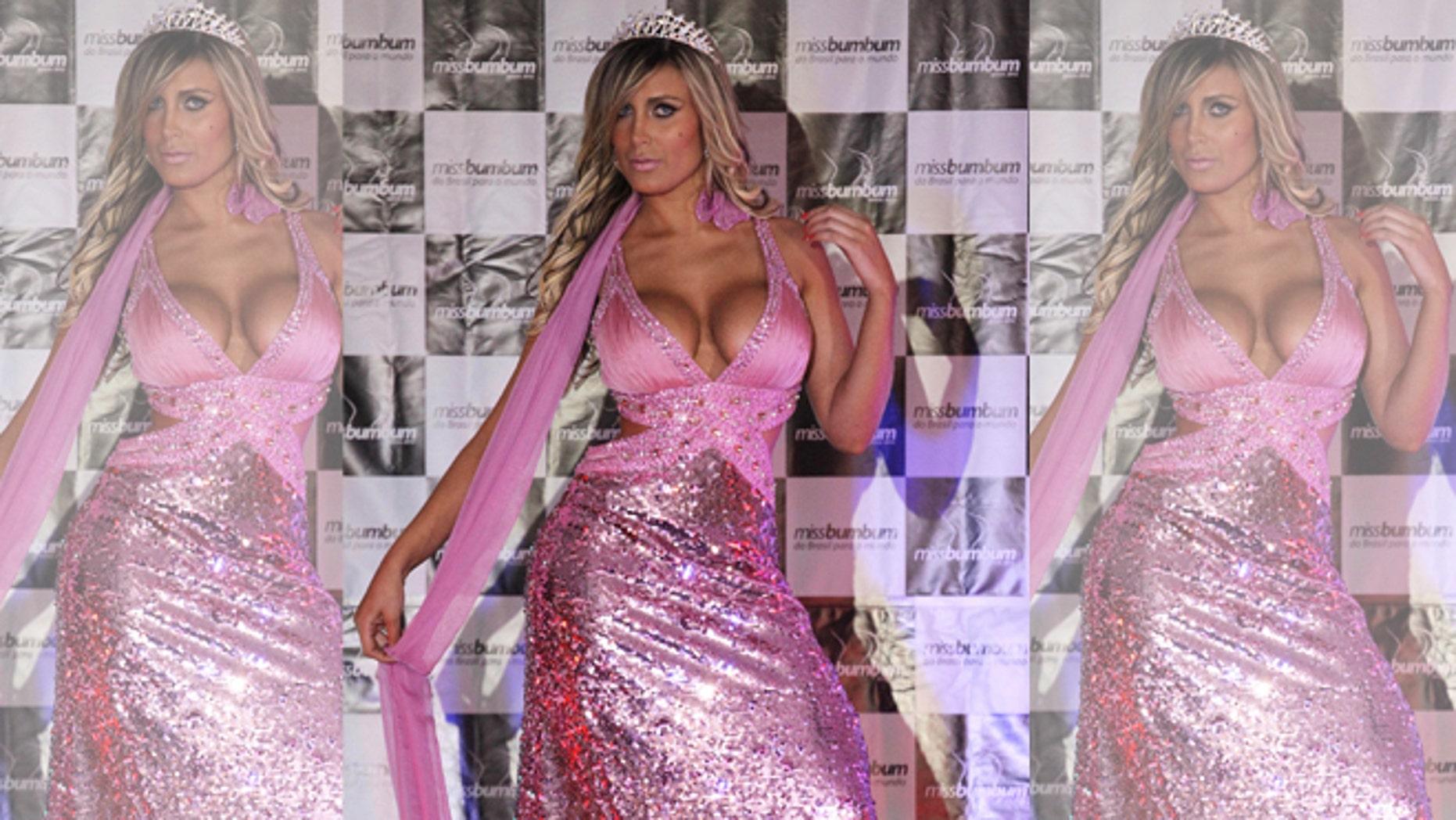 Andressa Urach in the 2012 Miss Bumbum Brazil contest in Sao Paulo, Brazil.
