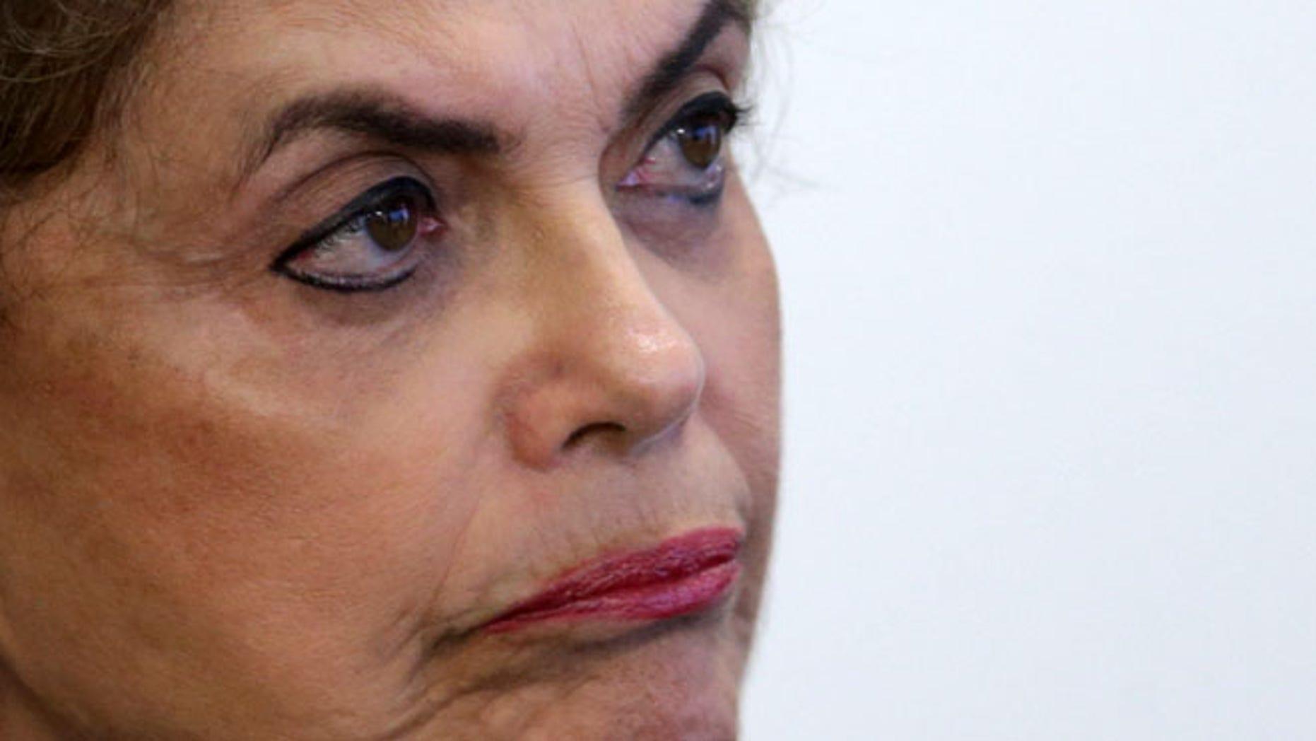 Brazil's President Dilma Rousseff at the Planalto Presidential Palace, in Brasilia, Brazil, Wednesday, April 13, 2016.