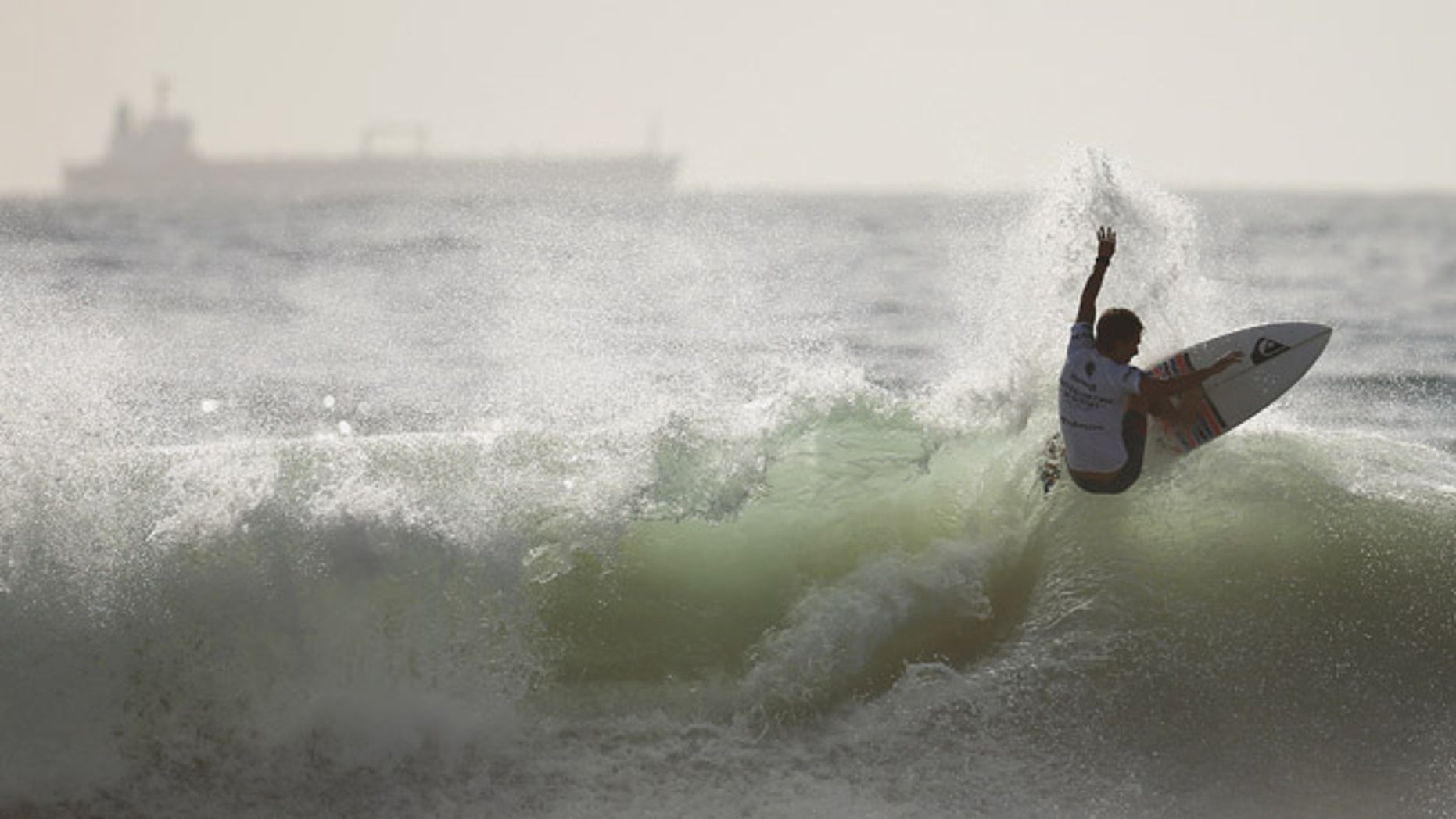 SYDNEY, AUSTRALIA - FEBRUARY 14: Jesse Mendes of Brazil competes during the Australian Open of Surfing at Manly Beach on February 14, 2015 in Sydney, Australia.  (Photo by Cameron Spencer/Getty Images)