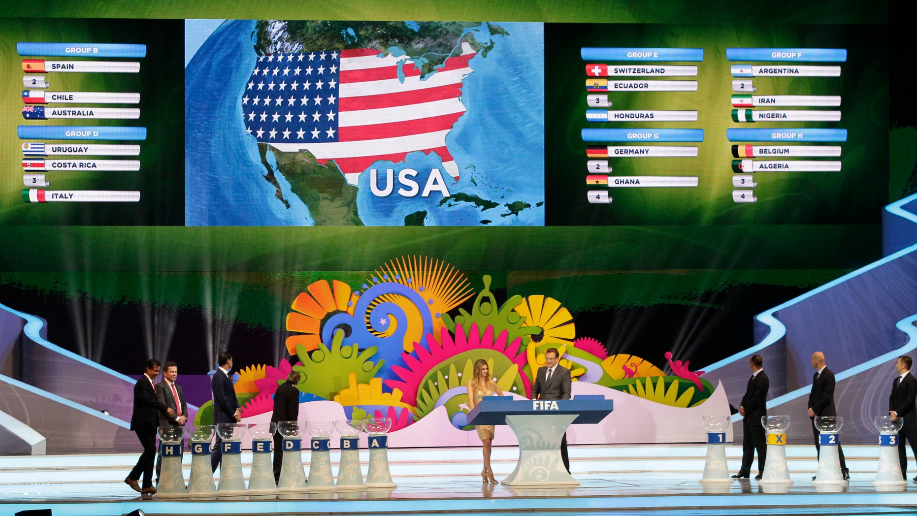 The lot of the United States is drawn during the draw ceremony for the 2014 soccer World Cup in Costa do Sauipe near Salvador, Brazil, Friday, Dec. 6, 2013. (AP Photo/Silvia Izquierdo)