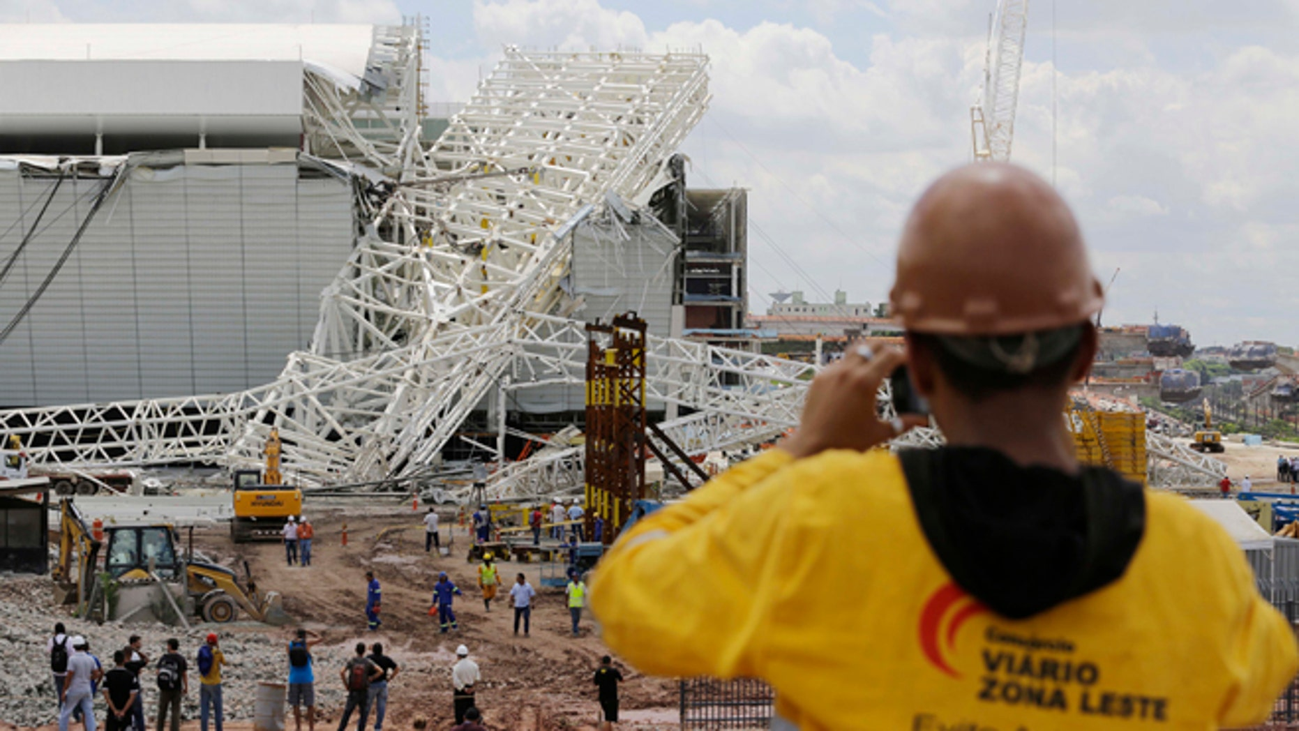 The Itaquerao Stadium after a collapse in Sao Paulo, Brazil, Wednesday, Nov. 27, 2013.