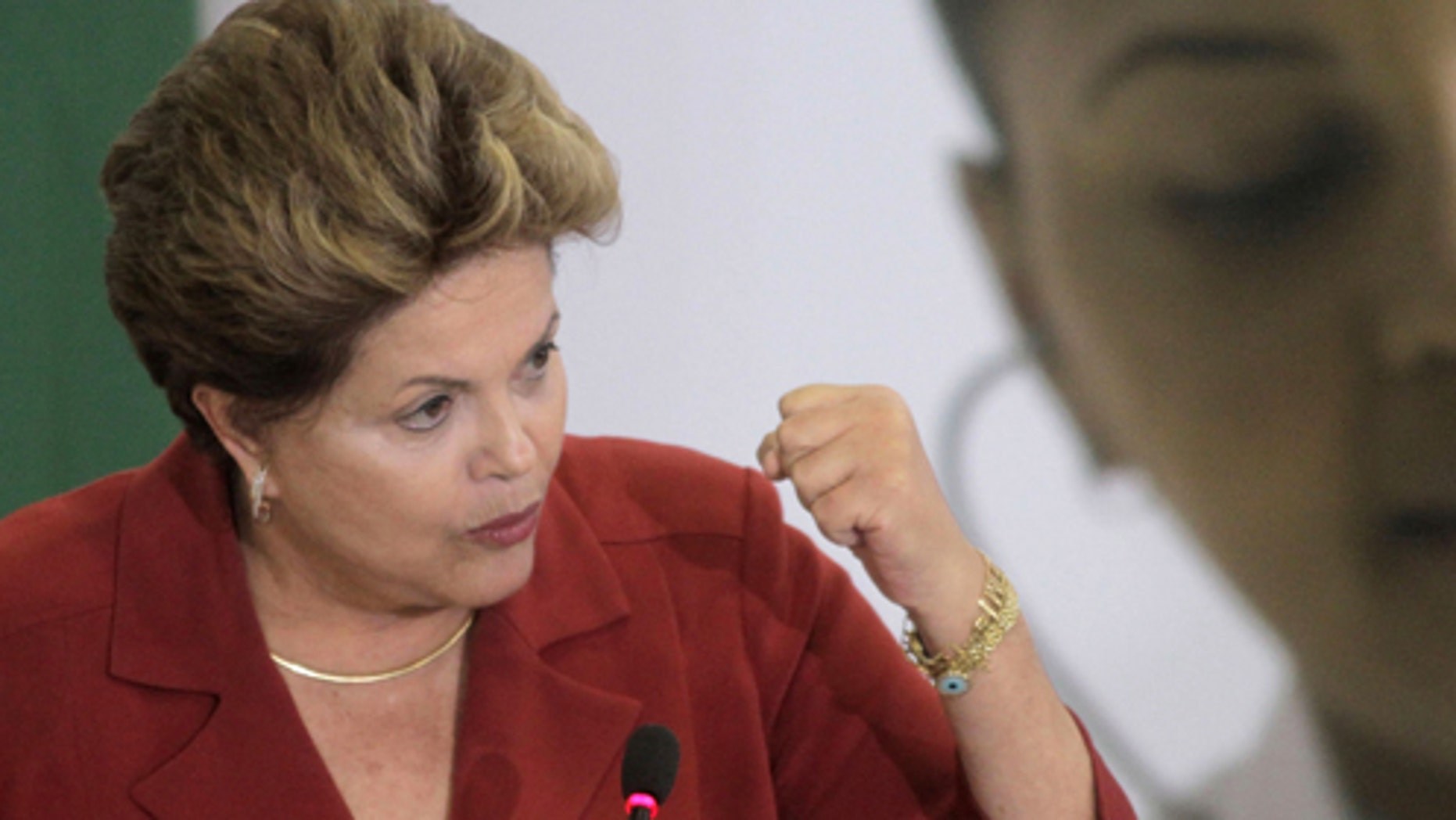 Brazil's President Dilma Rousseff at the presidential palace in Brasilia, Brazil, Monday, July 8, 2013.